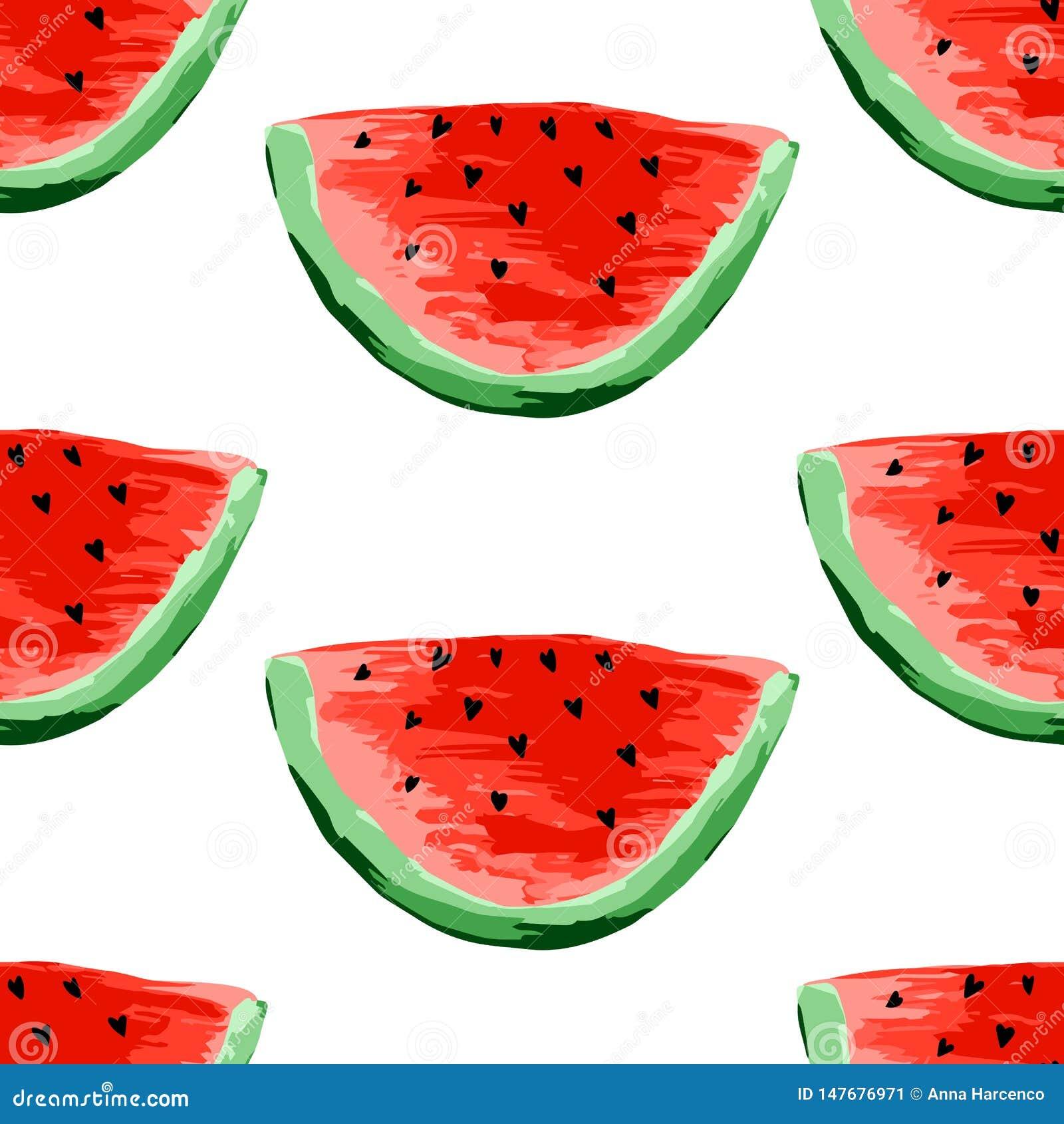 Безшовная картина арбузов Куски арбуза, предпосылки ягоды Покрашенный плод, графическое искусство, мультфильм