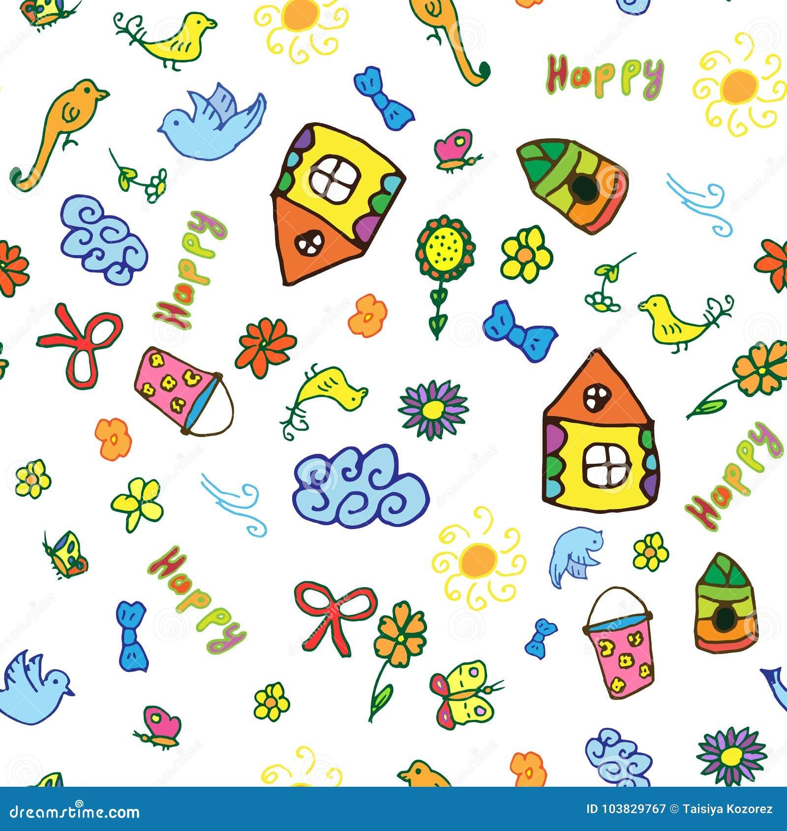 Безшовная картина вектора с милой ребяческой домом нарисованным рукой, солнцем, облаком, цветками, птицами