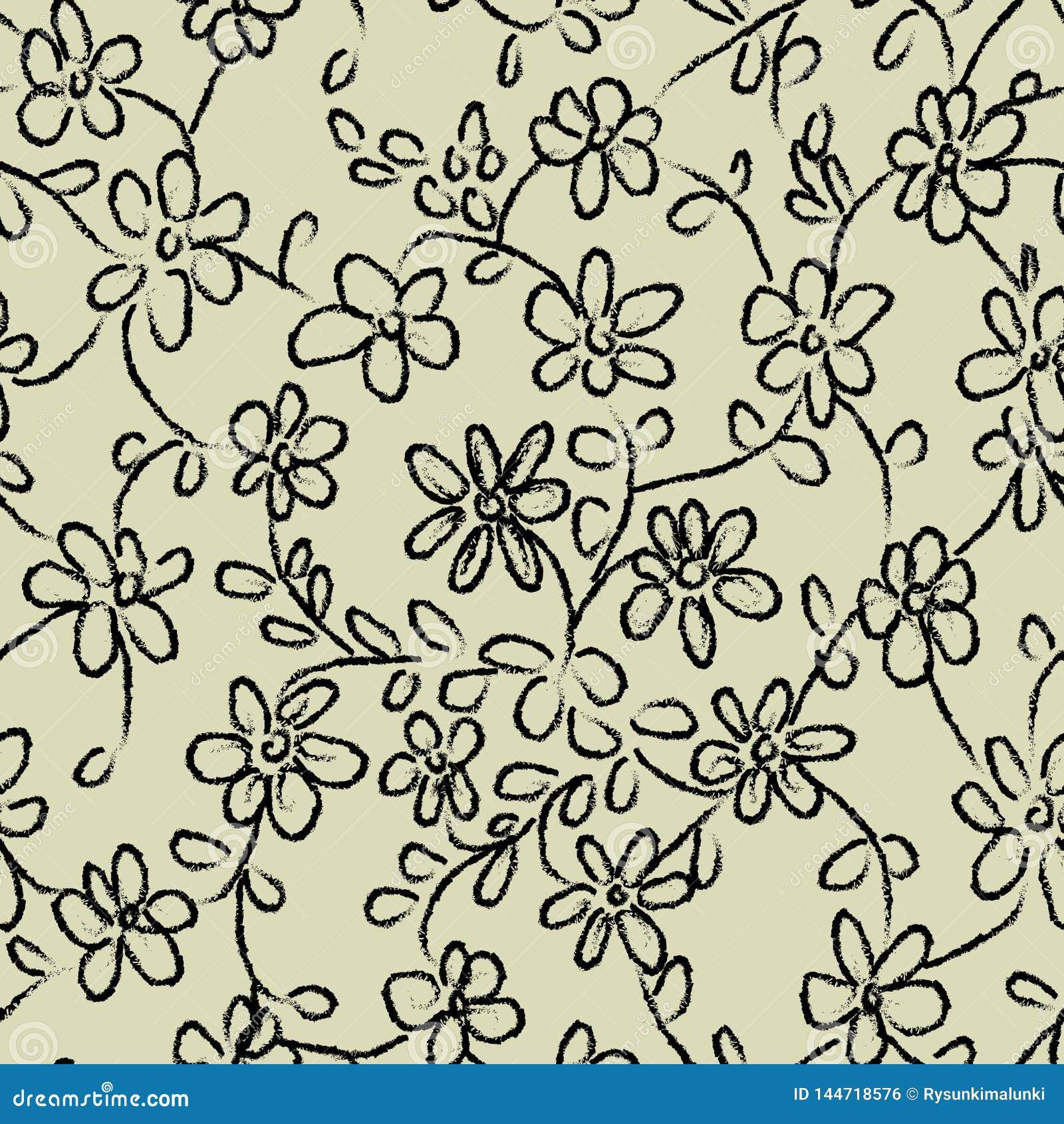 Безшовная картина вектора с doodles цветка
