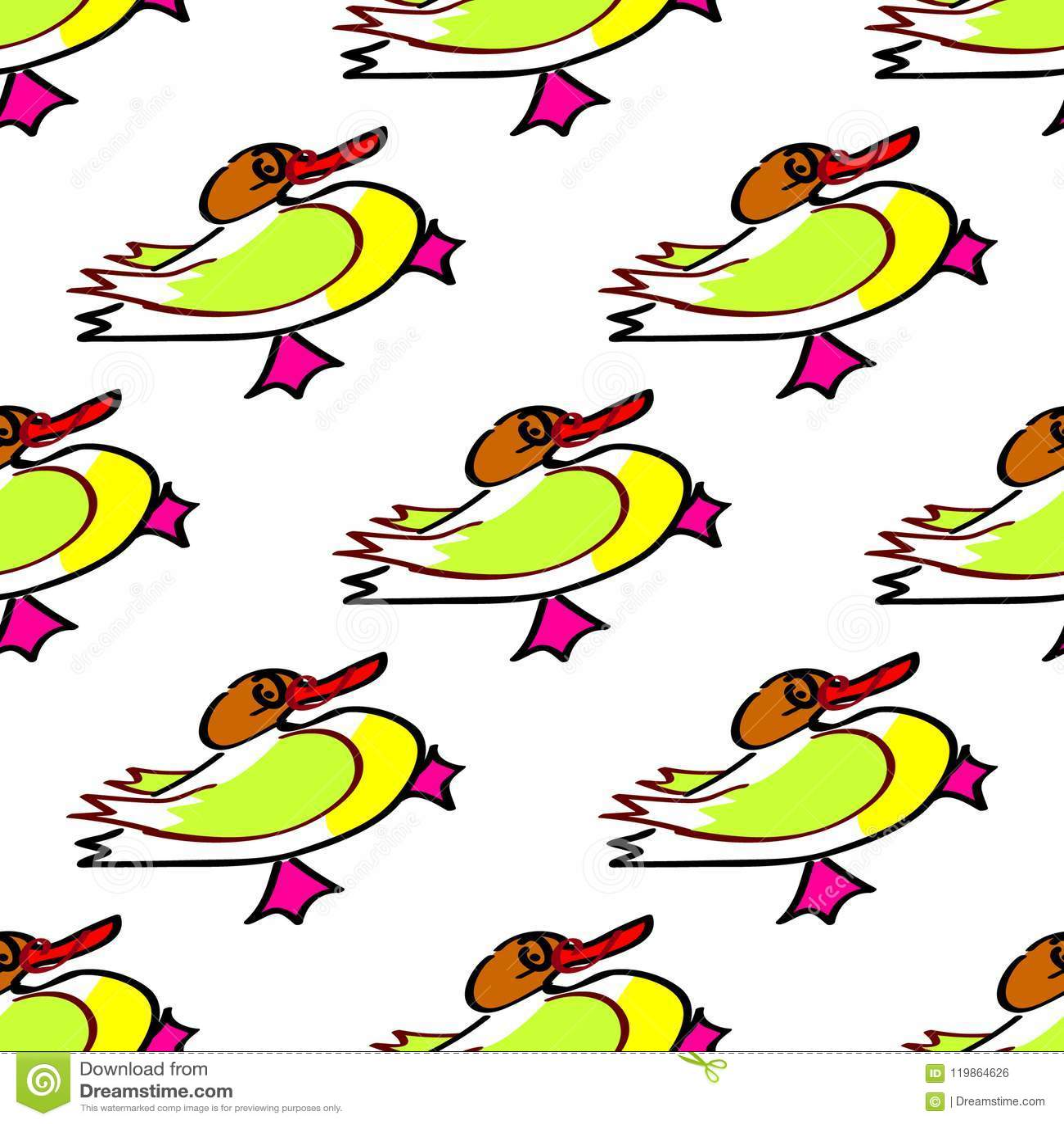 Безшовная картина вектора утки с ярким желтым изображением Для альбомов, карточек, приглашений, свадьбы, предпосылок и scrapbooks
