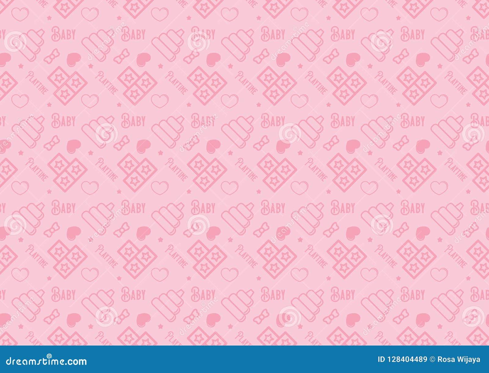 Безшовная картина в линии значке стиля с младенцем забавляется вектор темы польностью editable изменяемого размера в мягком розов