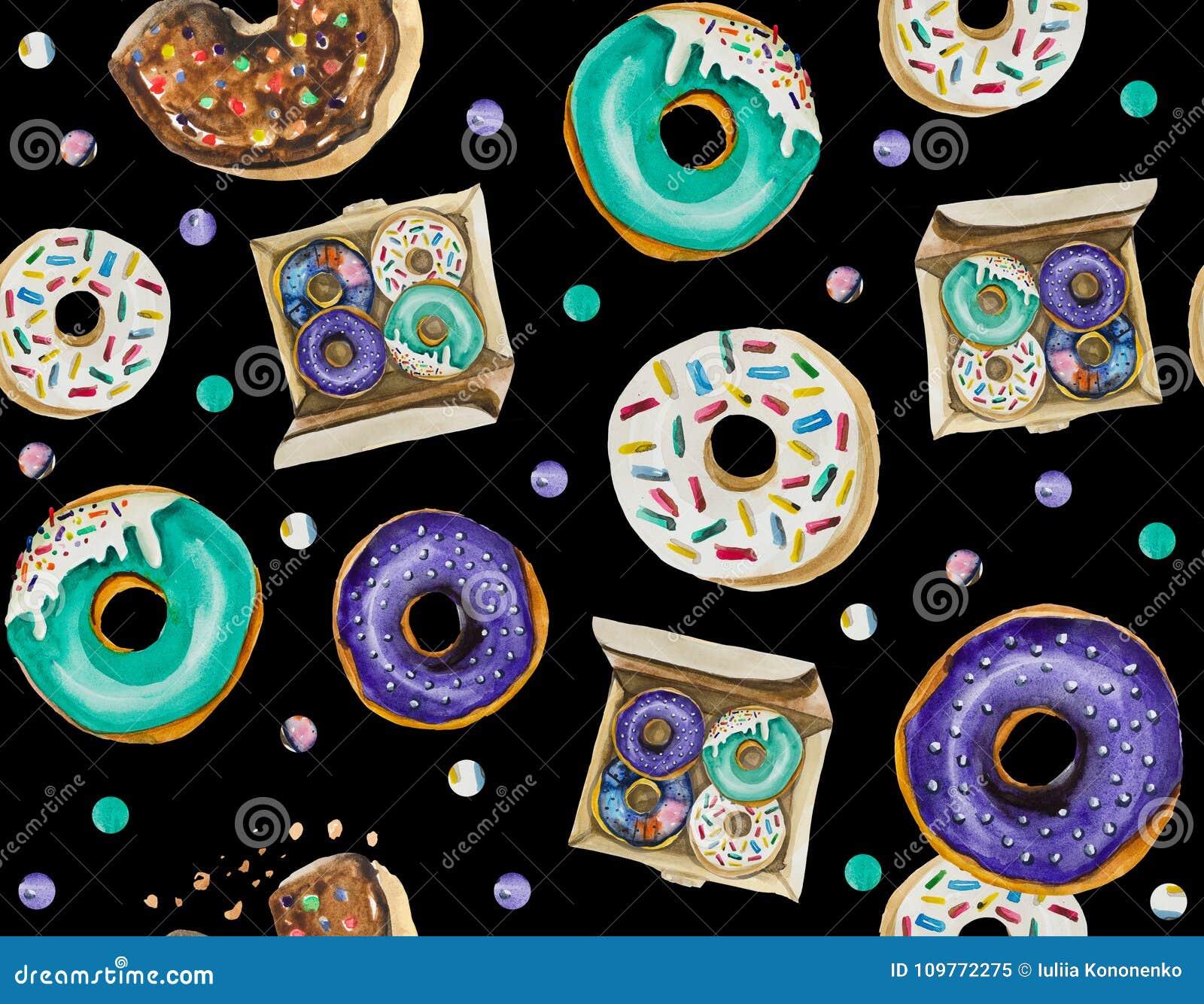 Безшовная картина главным образом составлена donuts и различных праздничных элементов и объектов оформления