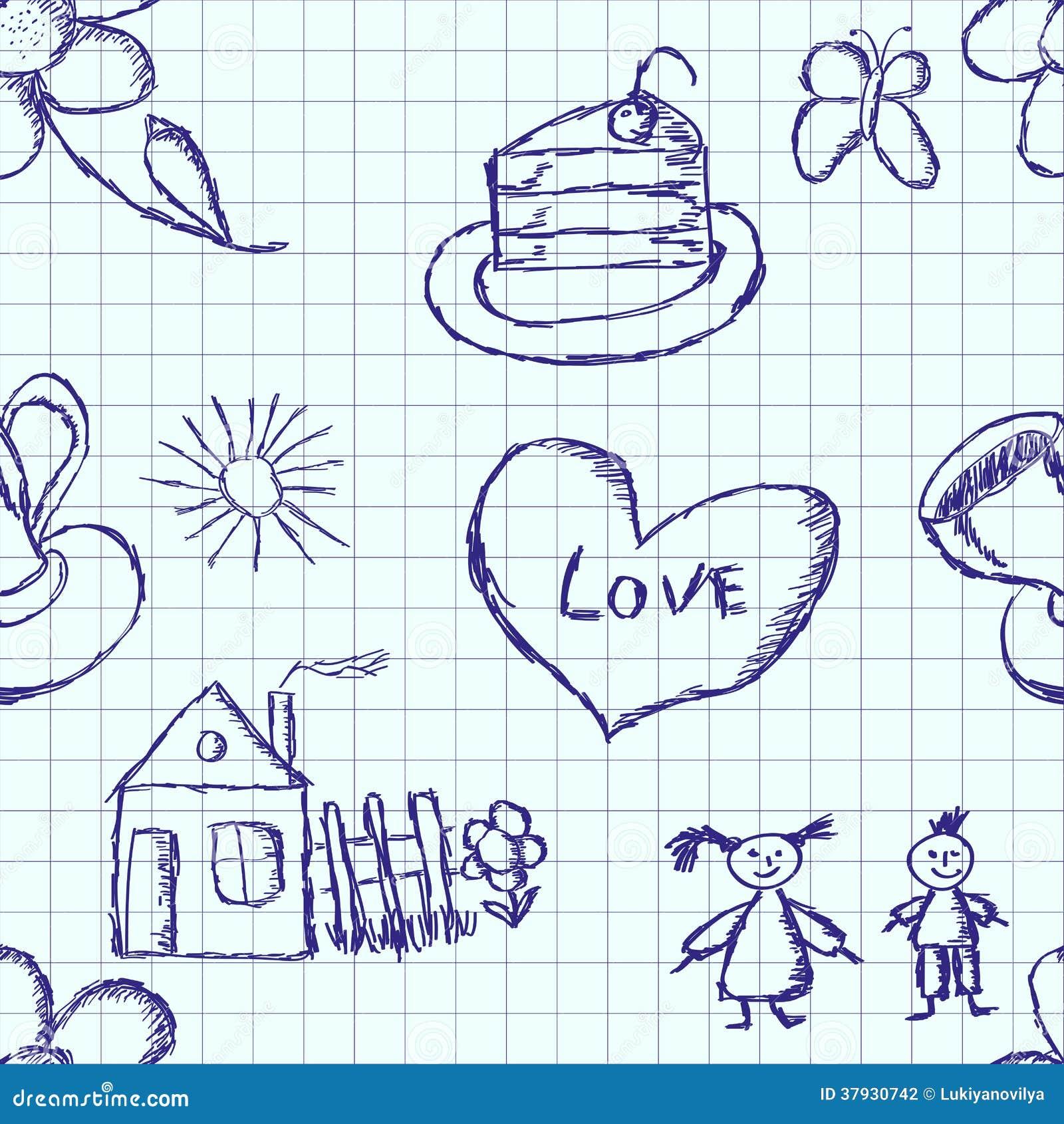 Безшовная картина детского чертежа ручки внутри