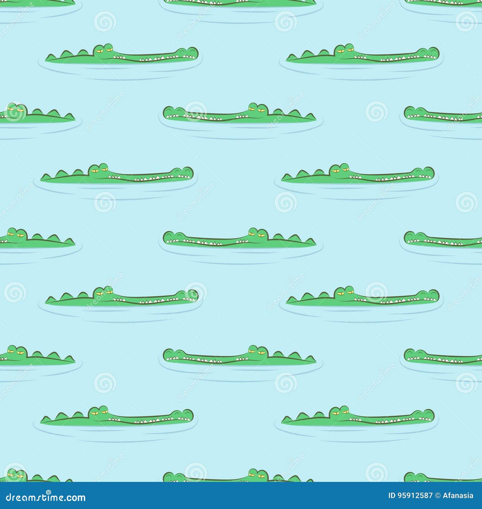 Безшовная картина крокодила Аллигаторы в воде