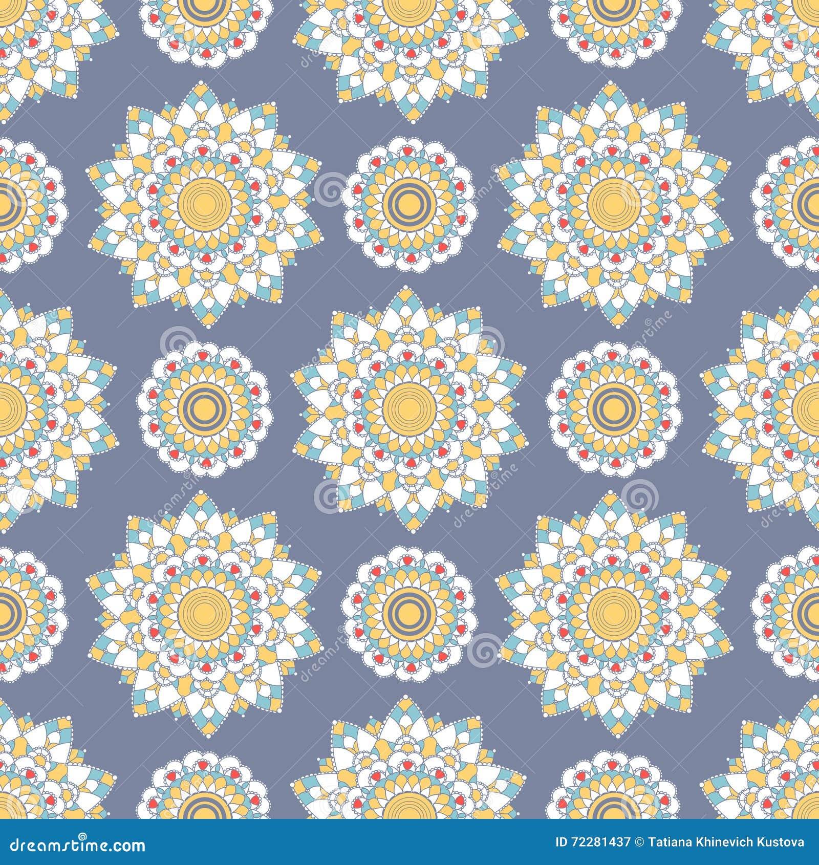 Download Безшовная картина мандалы иллюстрация вектора. иллюстрации насчитывающей элегантность - 72281437