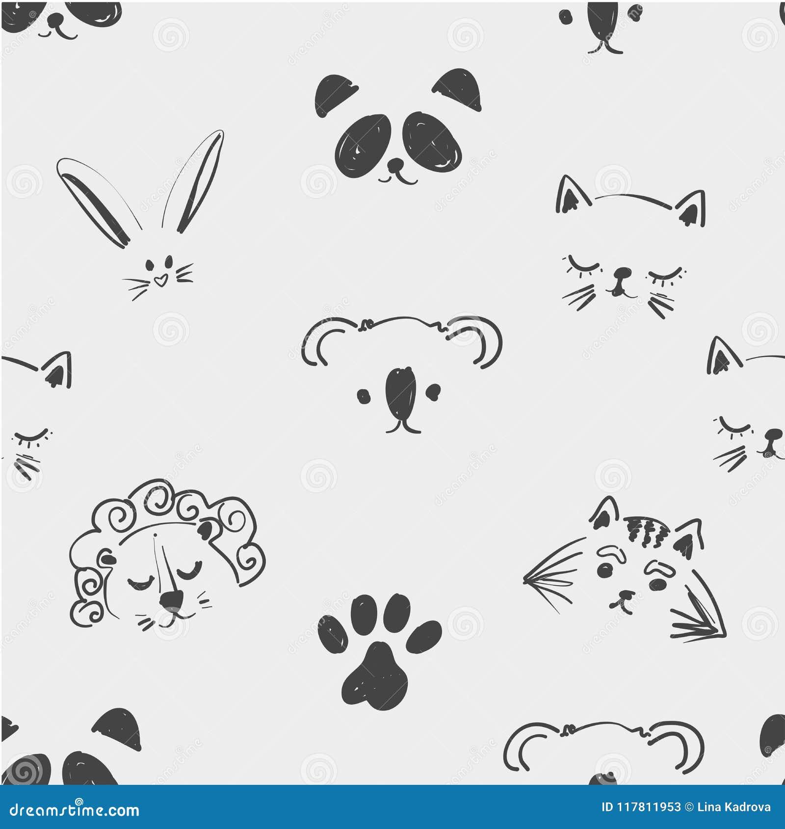 Безшовная картина милых животных сторон для футболки, тетрадей, карточки, ткани, дизайна моды Ультрамодная таблетка иллюстрации