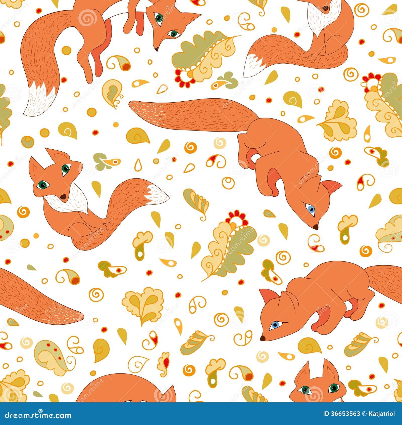 Безшовная картина милых лис и листьев