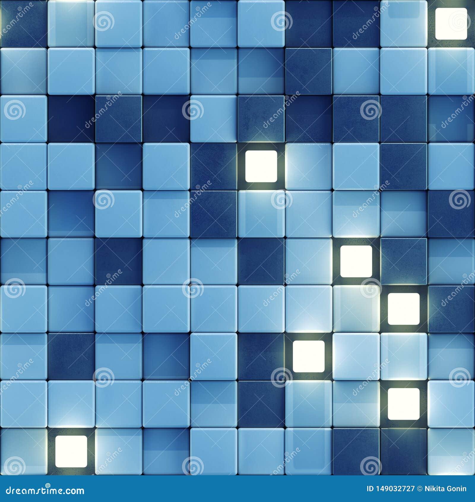 Безшовная картина накаляя белых и голубых плиток 3D, который нужно представить