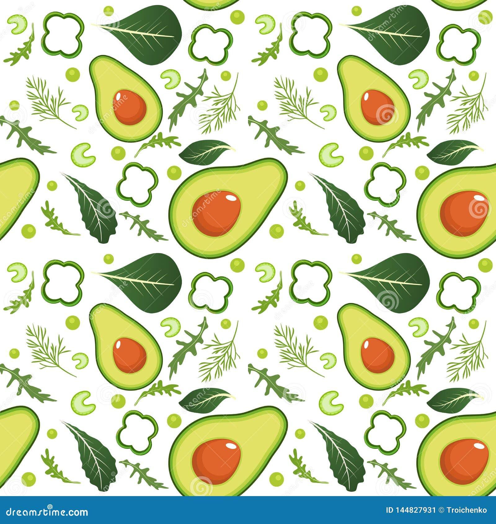Безшовная картина на белой предпосылке с зелеными овощами Авокадо, паприка, зеленые горохи, сельдерей, шпинат, arugula и