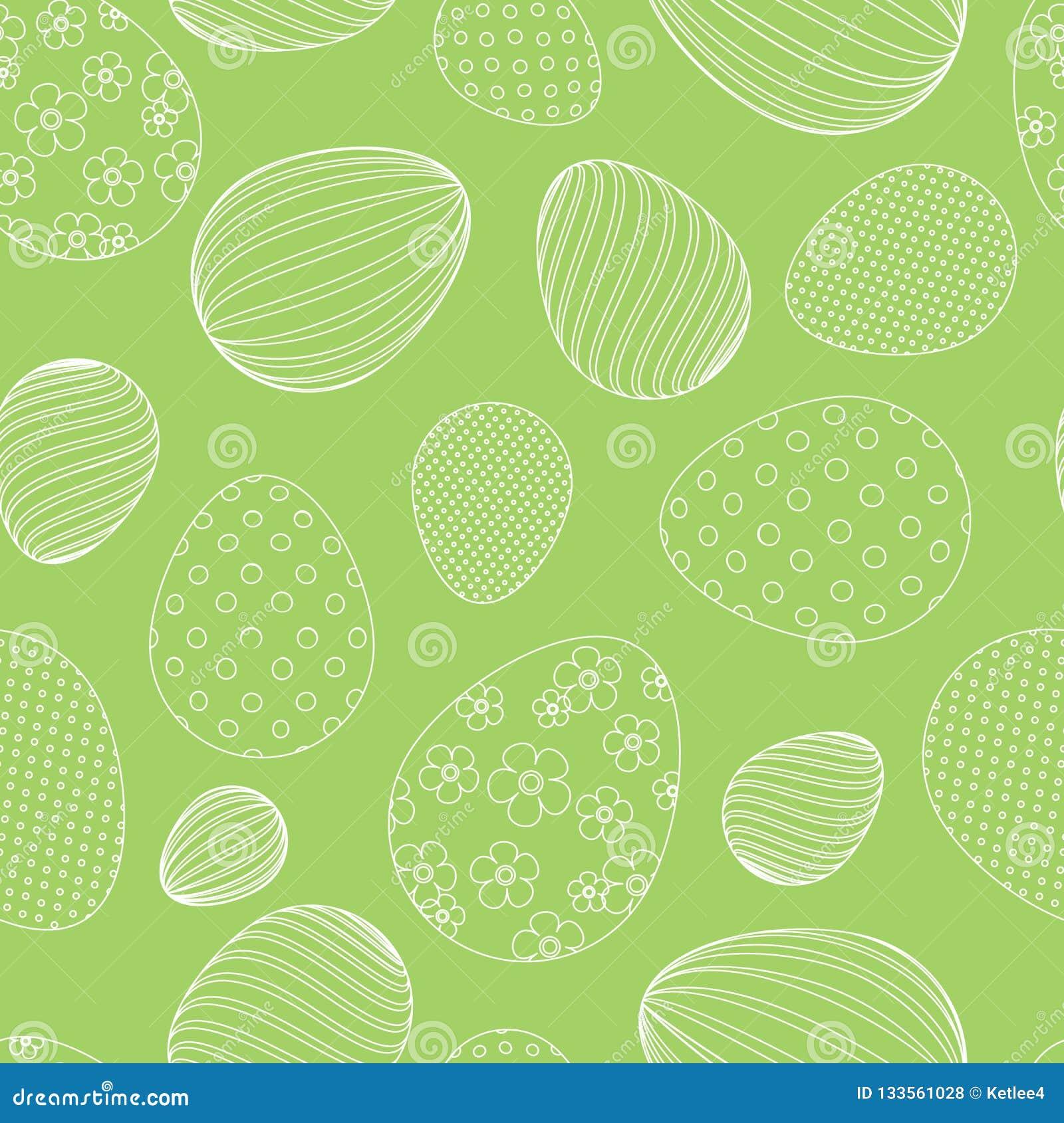 Безшовная картина от белых пасхальных яя на предпосылке зеленой предпосылки декоративной праздничной для дизайна знамен карт биро