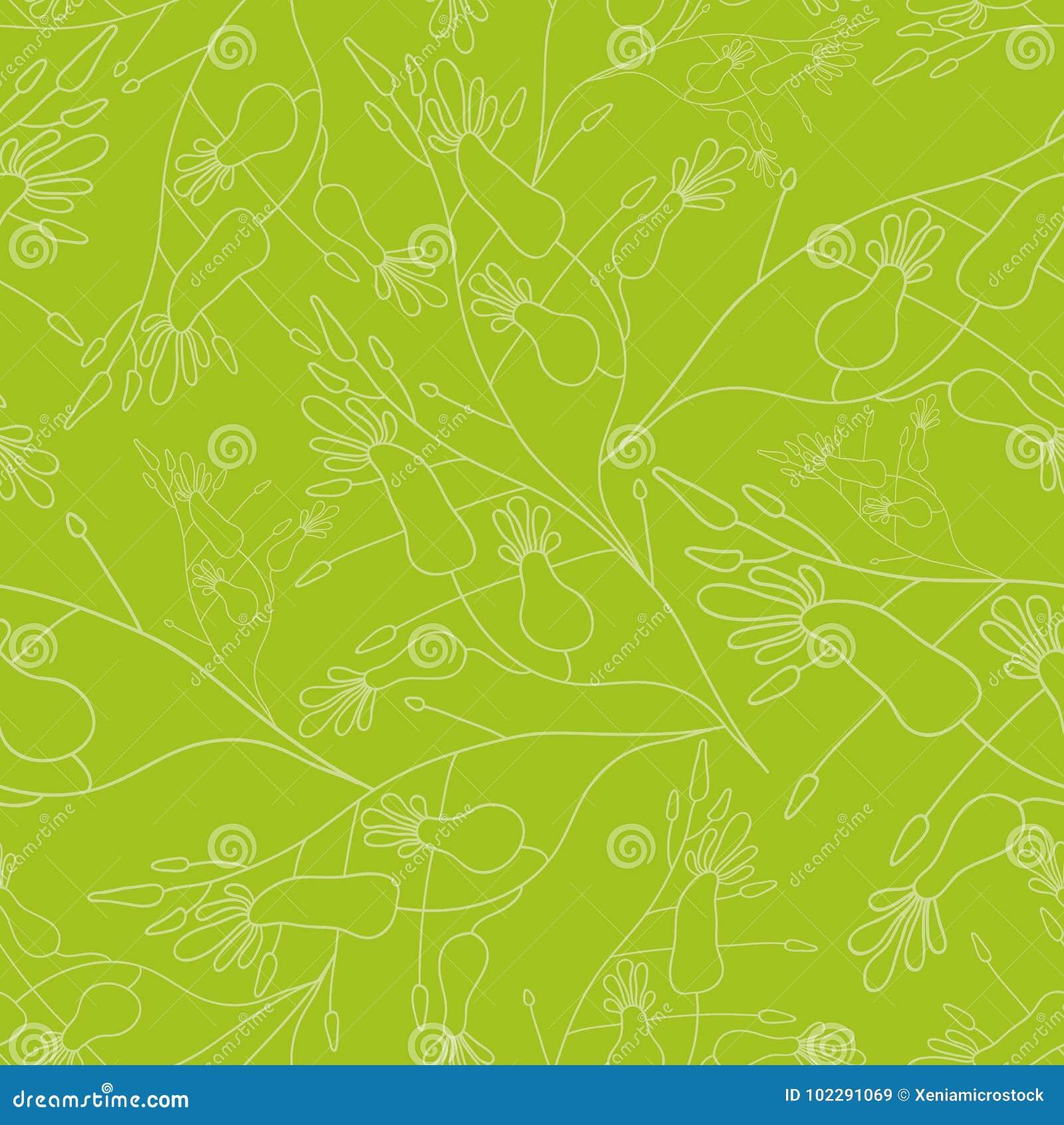 Безшовная картина показанная линейно цветет на зеленой предпосылке