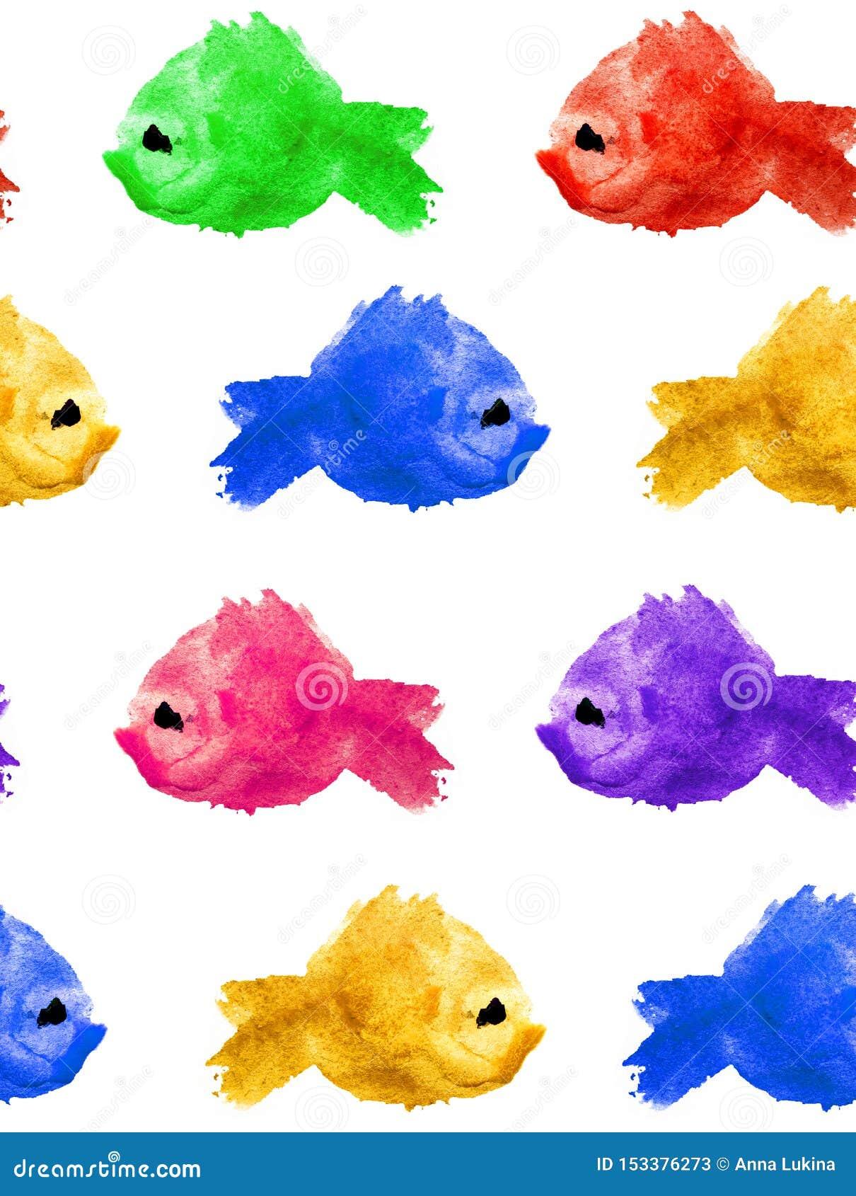 Безшовная картина пятна помаркой акварели пурпурного желтого зеленого голубого красного в форме силуэт рыбы на белой предпосылке