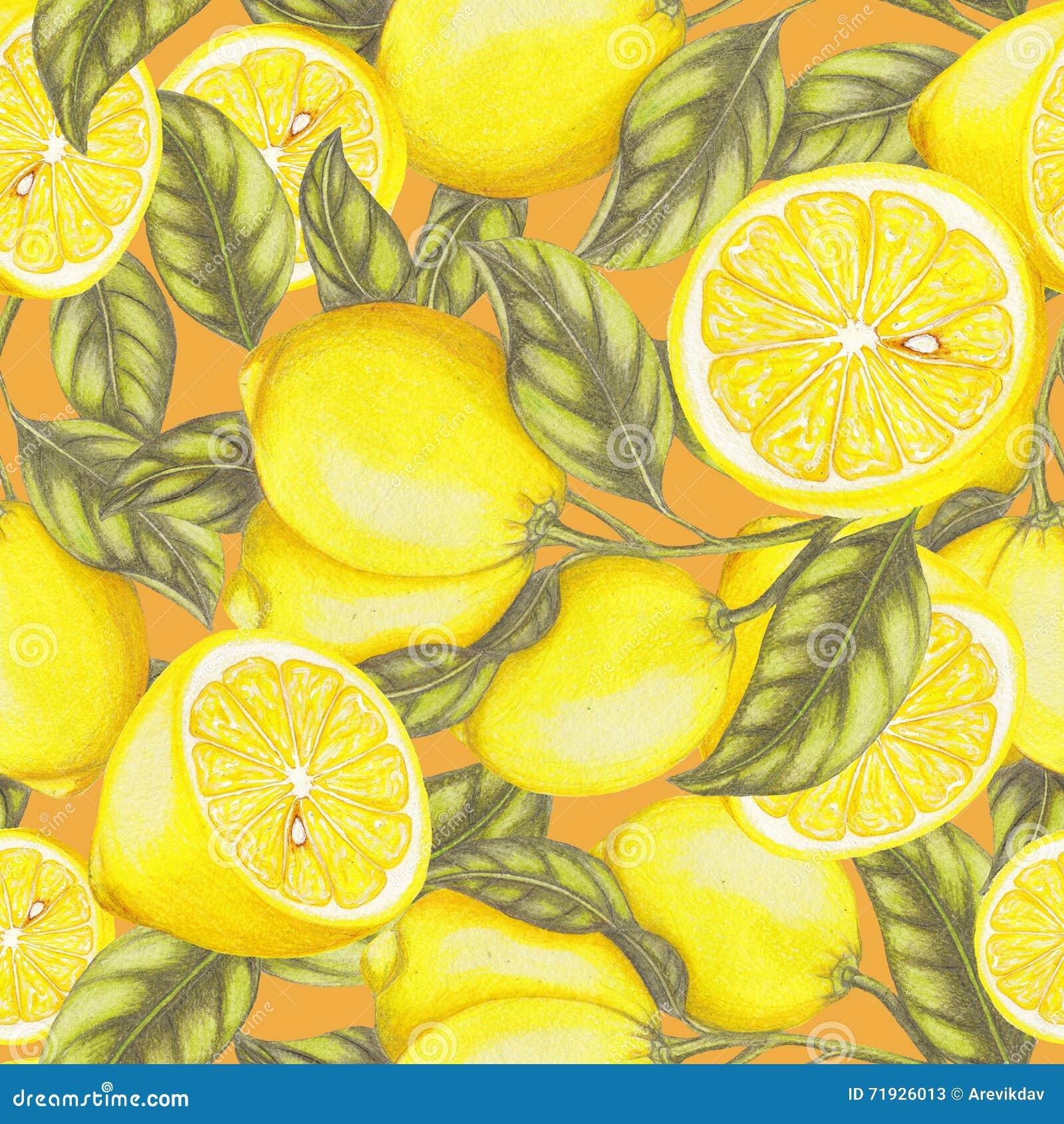 Безшовная картина свежих лимонов