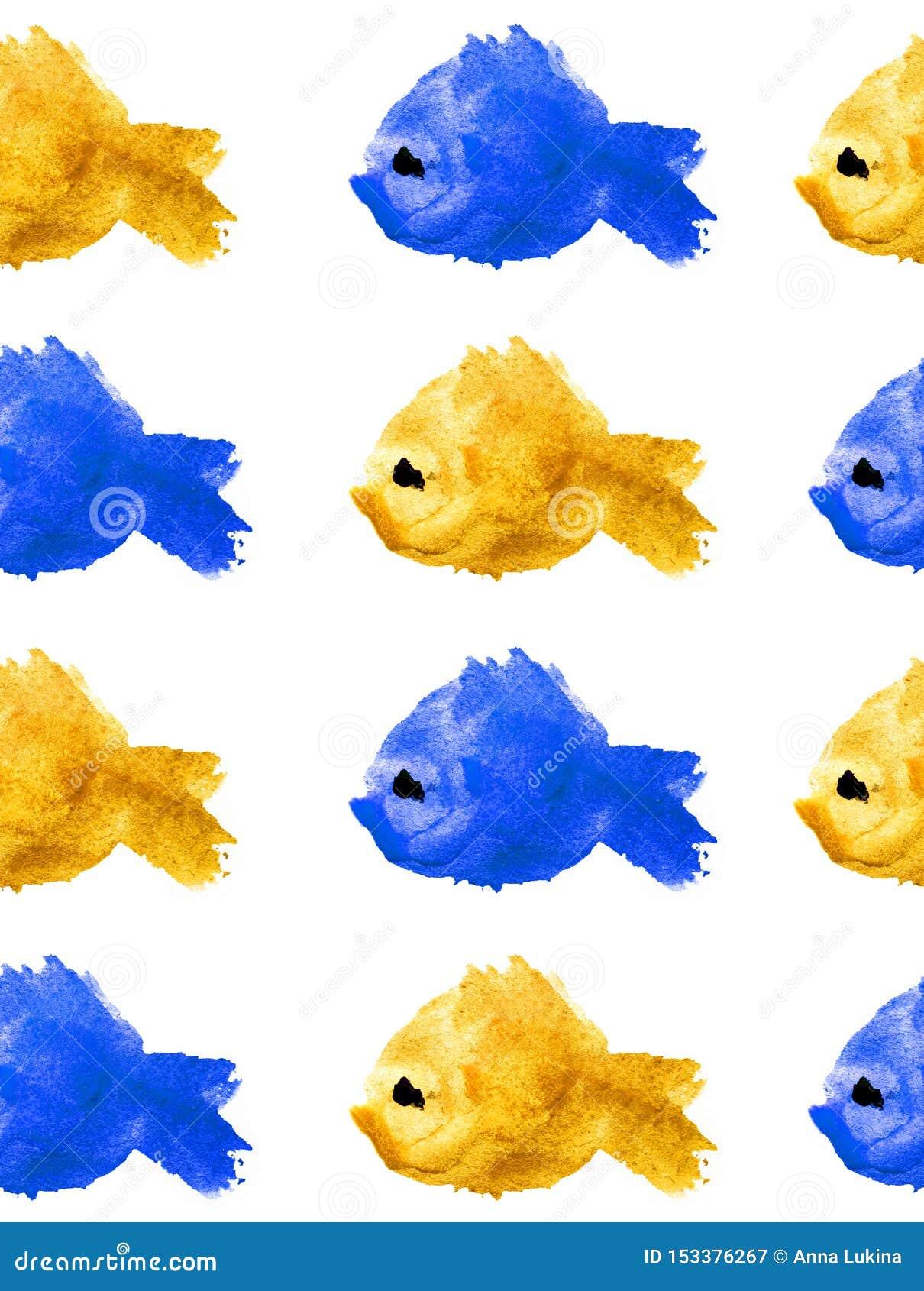 Безшовная картина силуэтов акварели желтых и голубых рыб с подбитым глазом на белой предпосылке изолированной в форме a