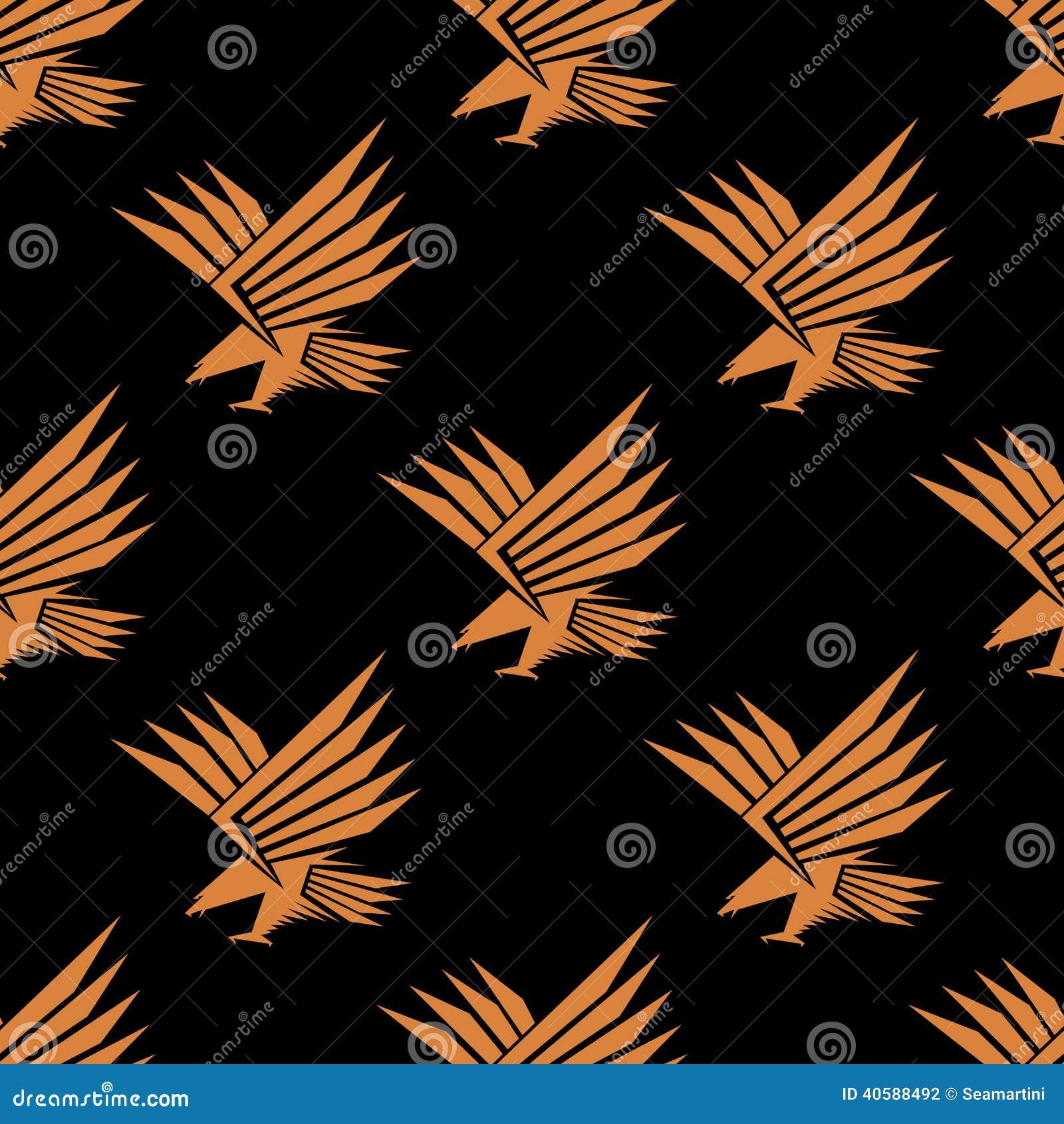 Безшовная картина стилизованного орла летания