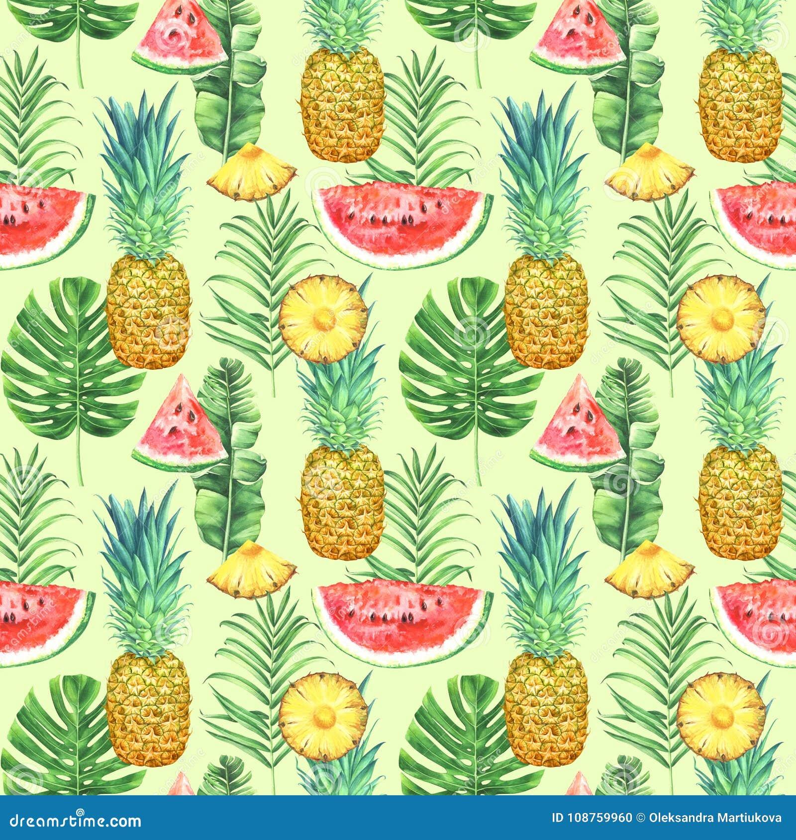 Безшовная картина с ананасами, арбузами и тропическими листьями на зеленой предпосылке Тропическая иллюстрация акварели