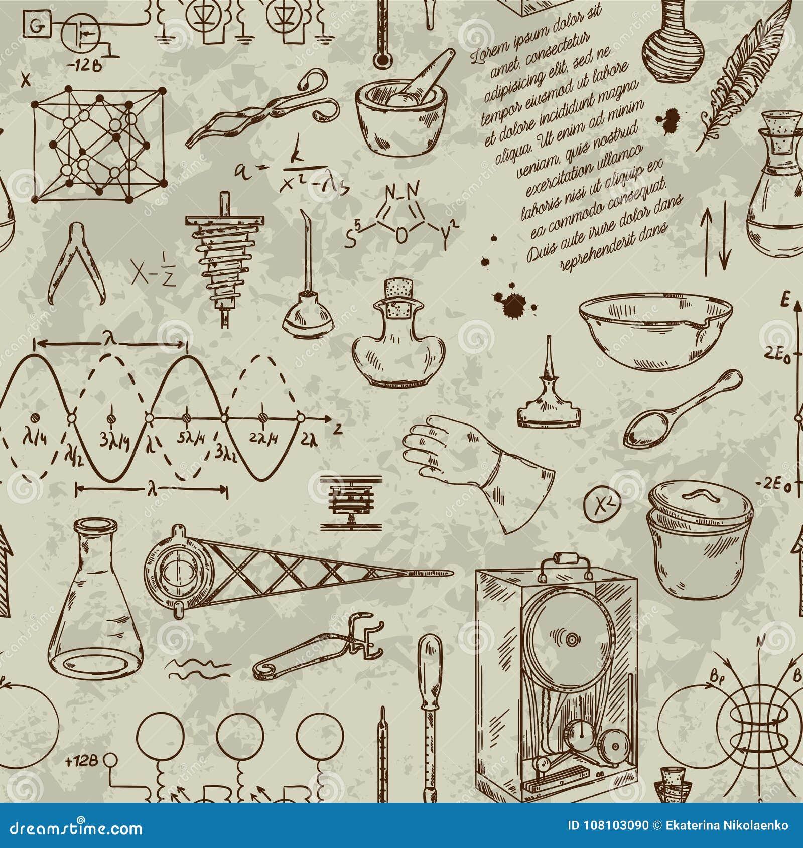 Безшовная картина с винтажными объектами науки Научное оборудование для физики и химии
