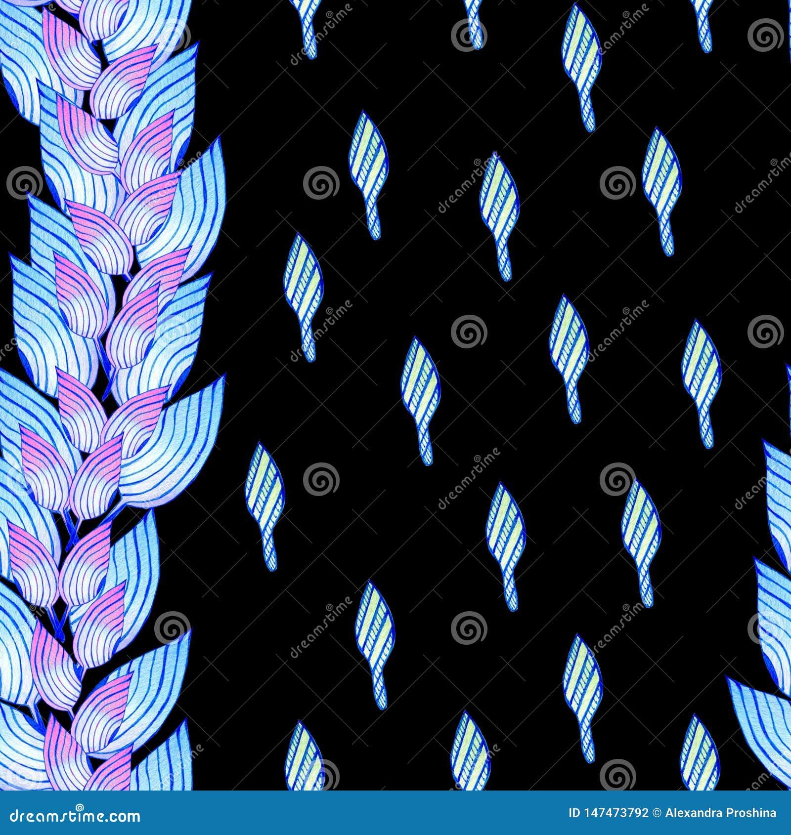 Безшовная картина с голубыми листьями в африканском стиле