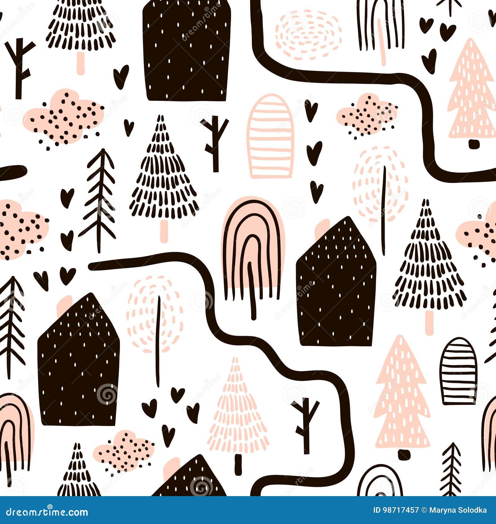 Безшовная картина с деревьями, домами солнечний свет дуба пущи конструкции граници предпосылки осени жолудей Ребяческая текстура