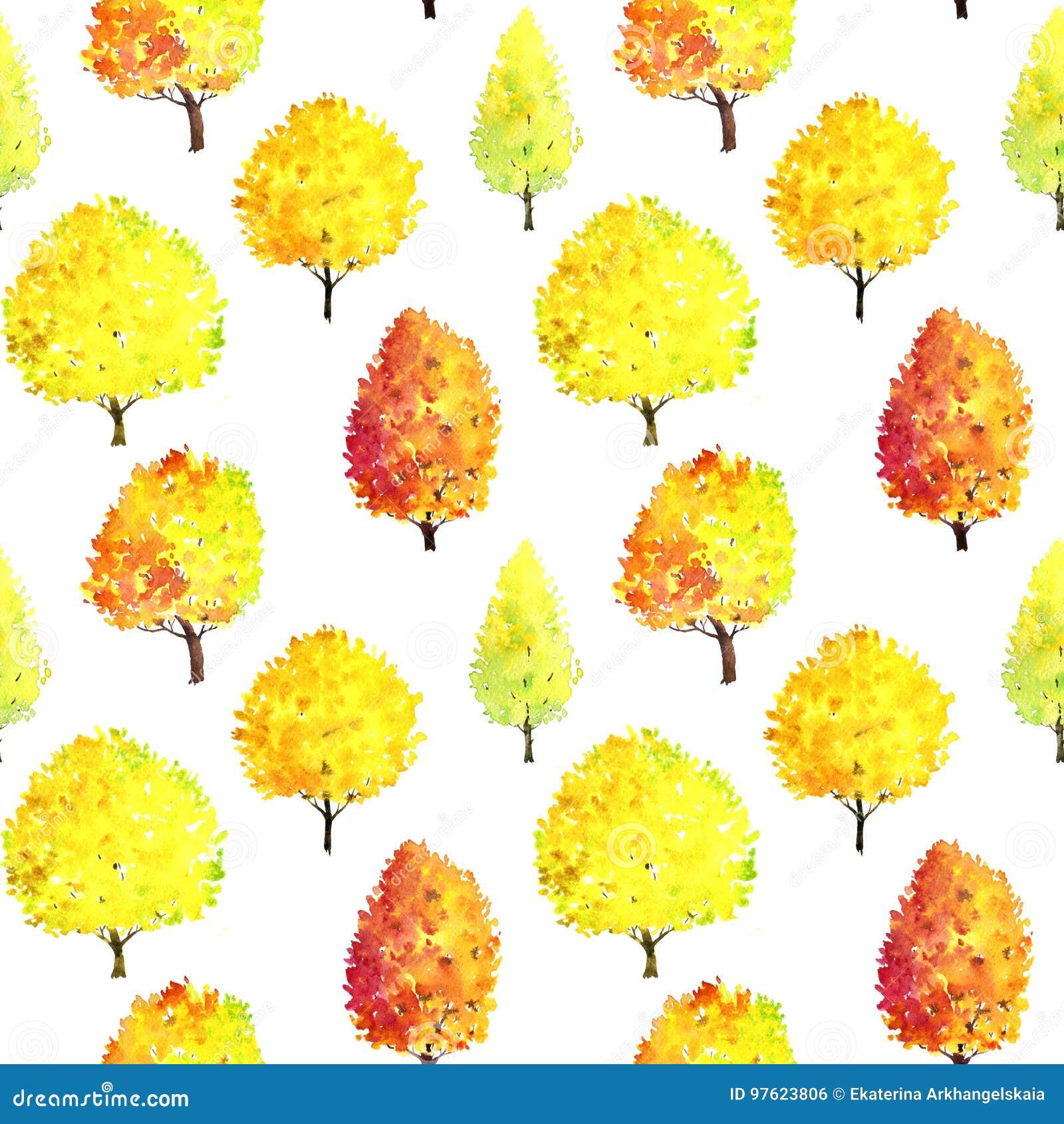 Безшовная картина с деревьями акварели