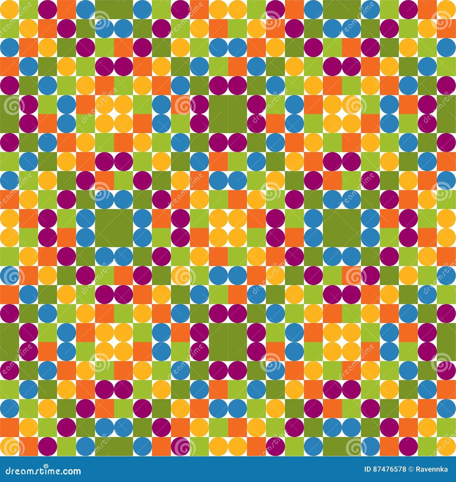 Безшовная картина сделанная красочных кругов и квадратов, яркое