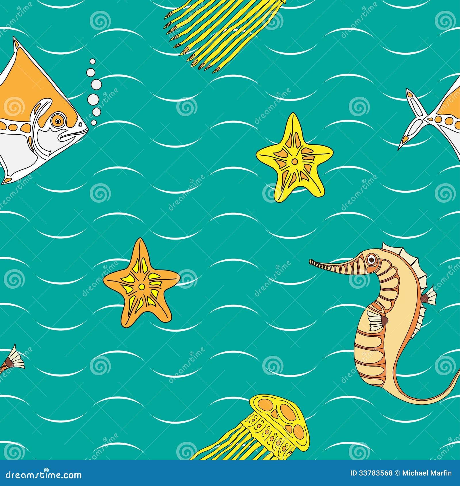 Безшовная картина с жителями моря