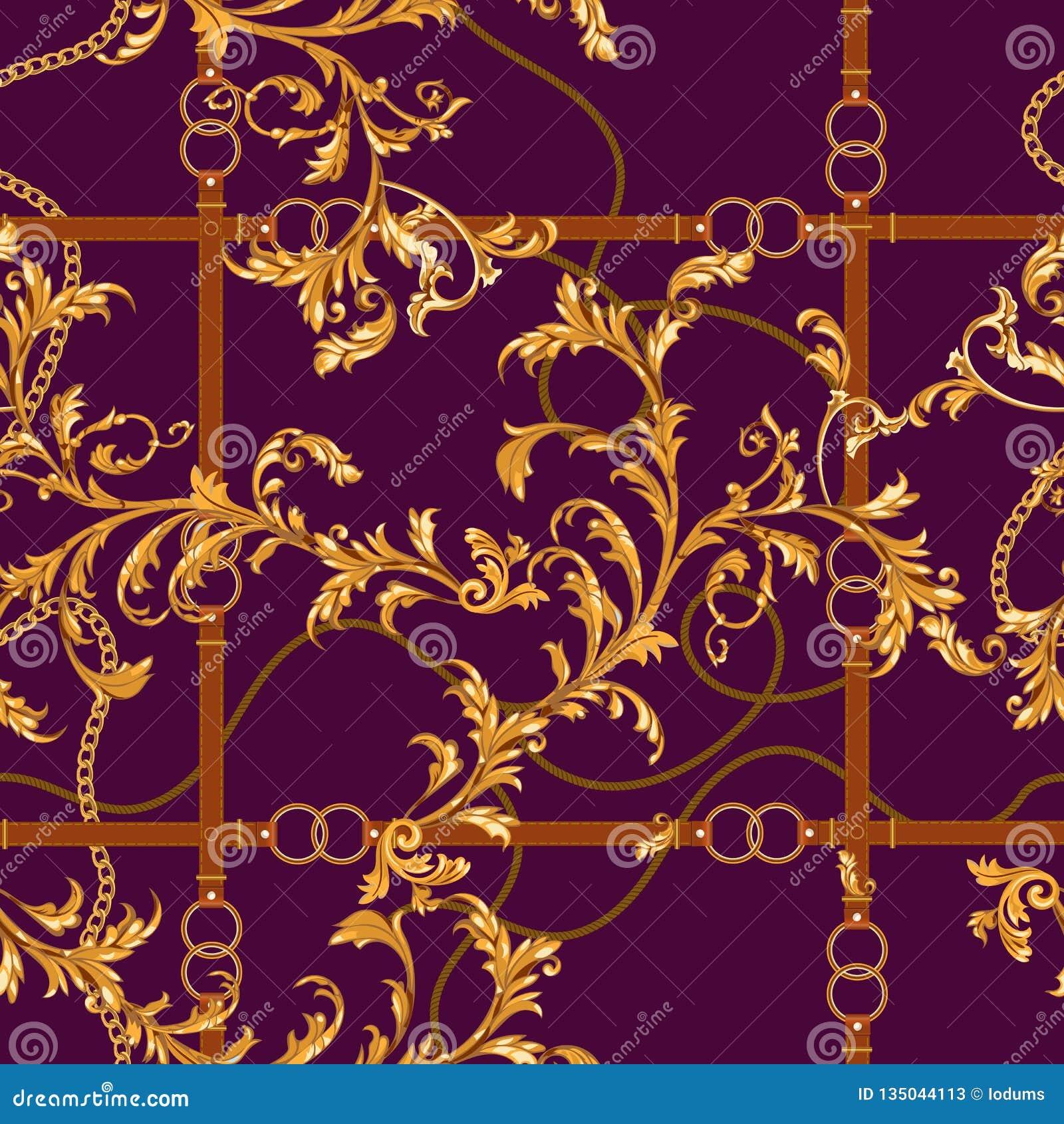 Безшовная картина с золотыми цепями, поясами и барочными листьями Заплата для шарфов, печать вектора барочная, ткань
