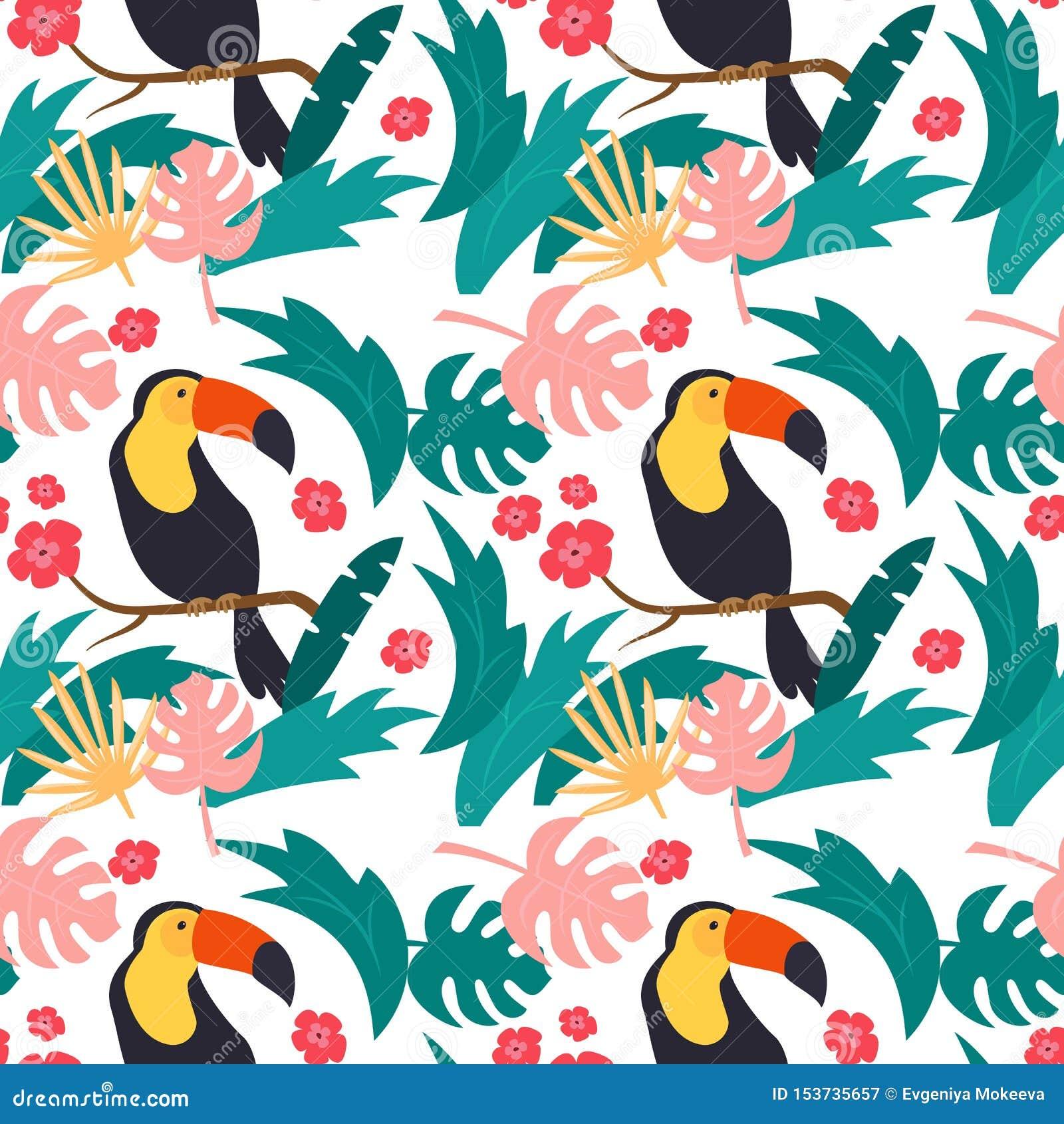 Безшовная картина с красочными toucans