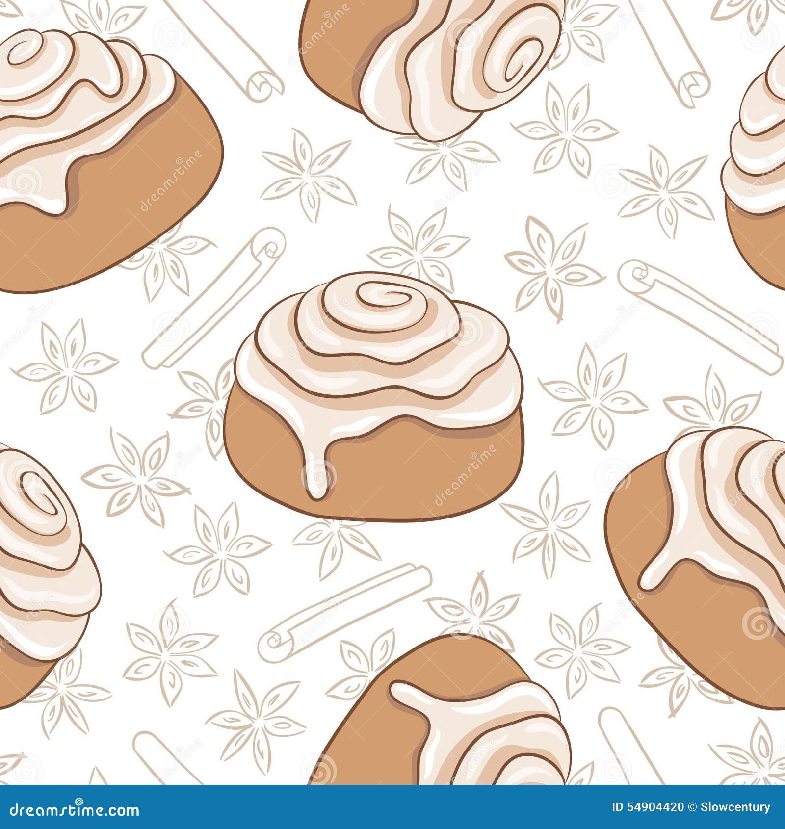 Безшовная картина с кренами и специей циннамона Свеже испеченное сладостное печенье с замораживать и специей