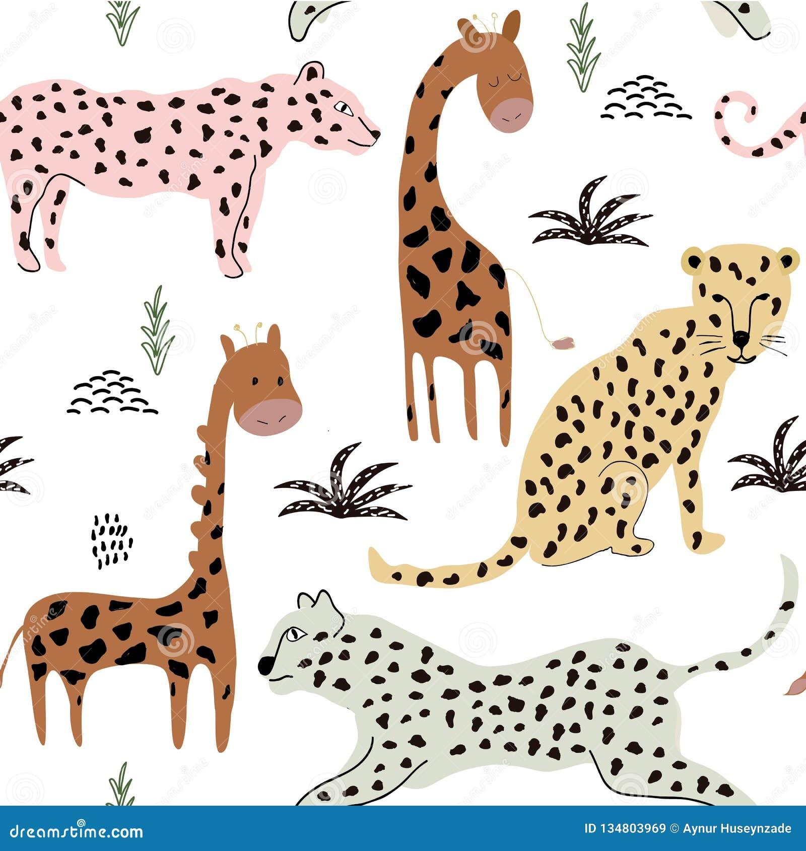 Безшовная картина с леопардами и жирафами предпосылка для ткани, ткани, обоев