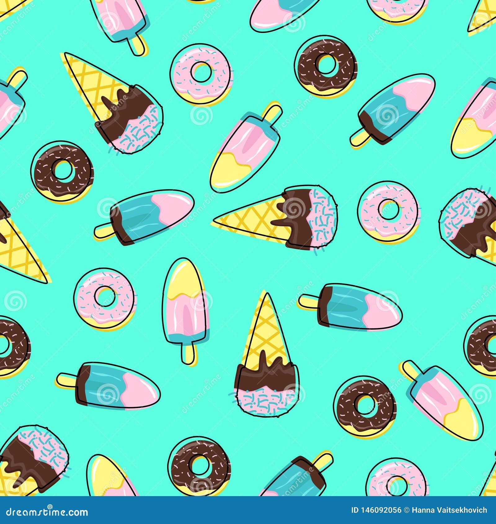 Безшовная картина с мороженым и donuts - иллюстрацией вектора, eps