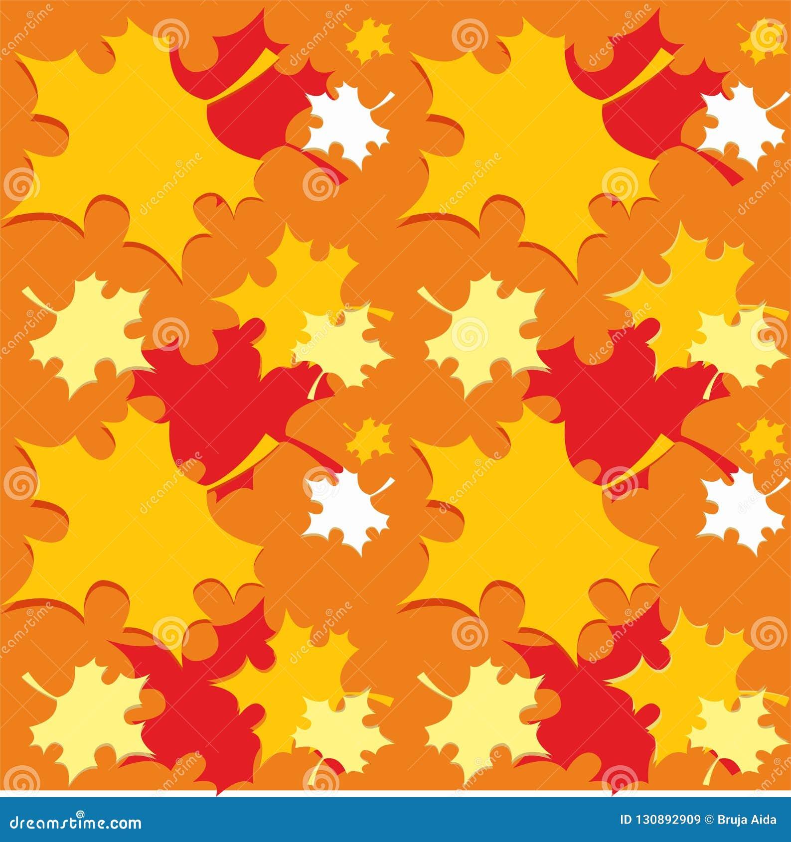 Безшовная картина с оранжевым падением осени выходит - вектор