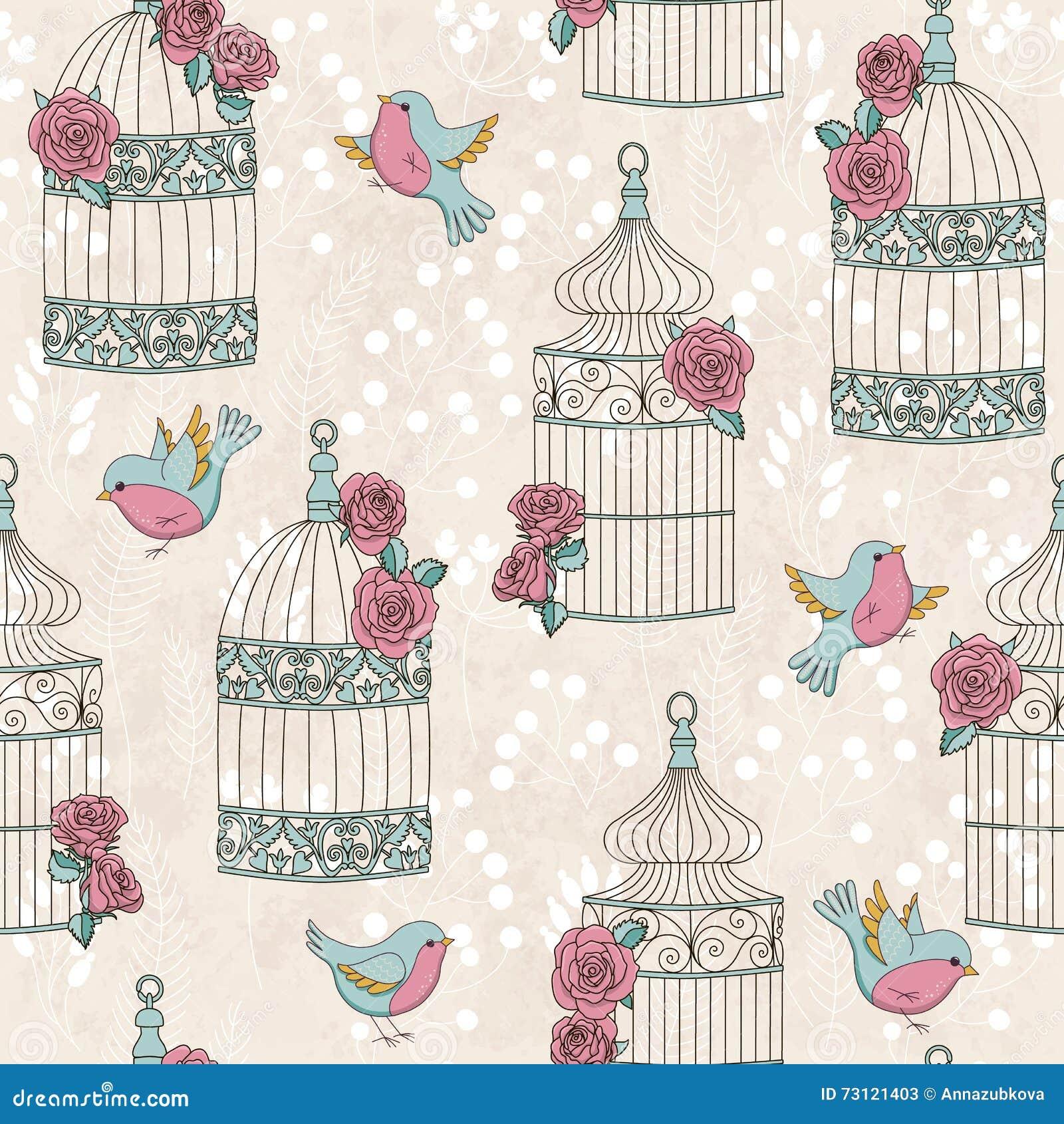 Безшовная картина с птицами, birdcages и розами