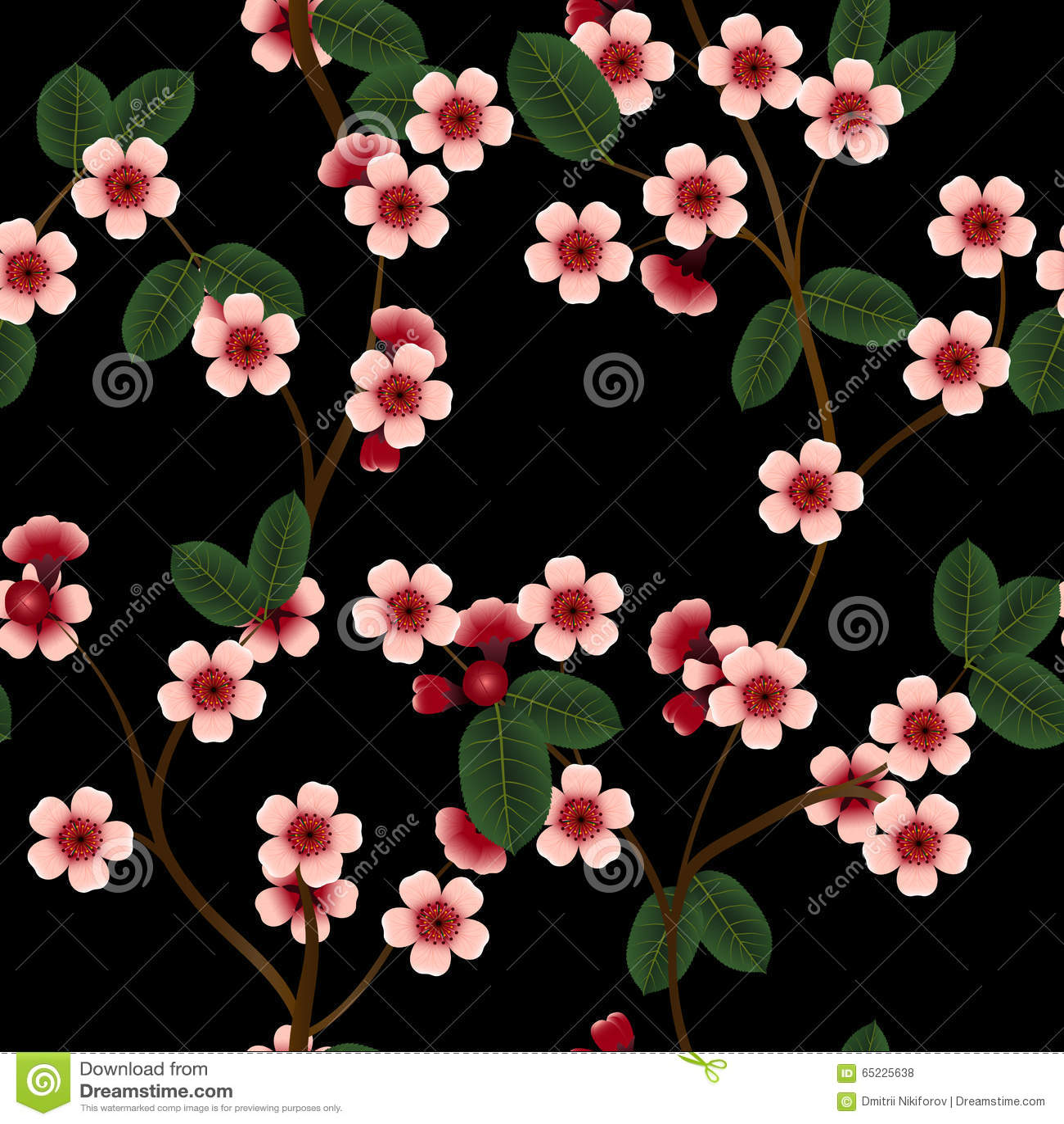 Безшовная картина с розовыми цветками и лист вишни