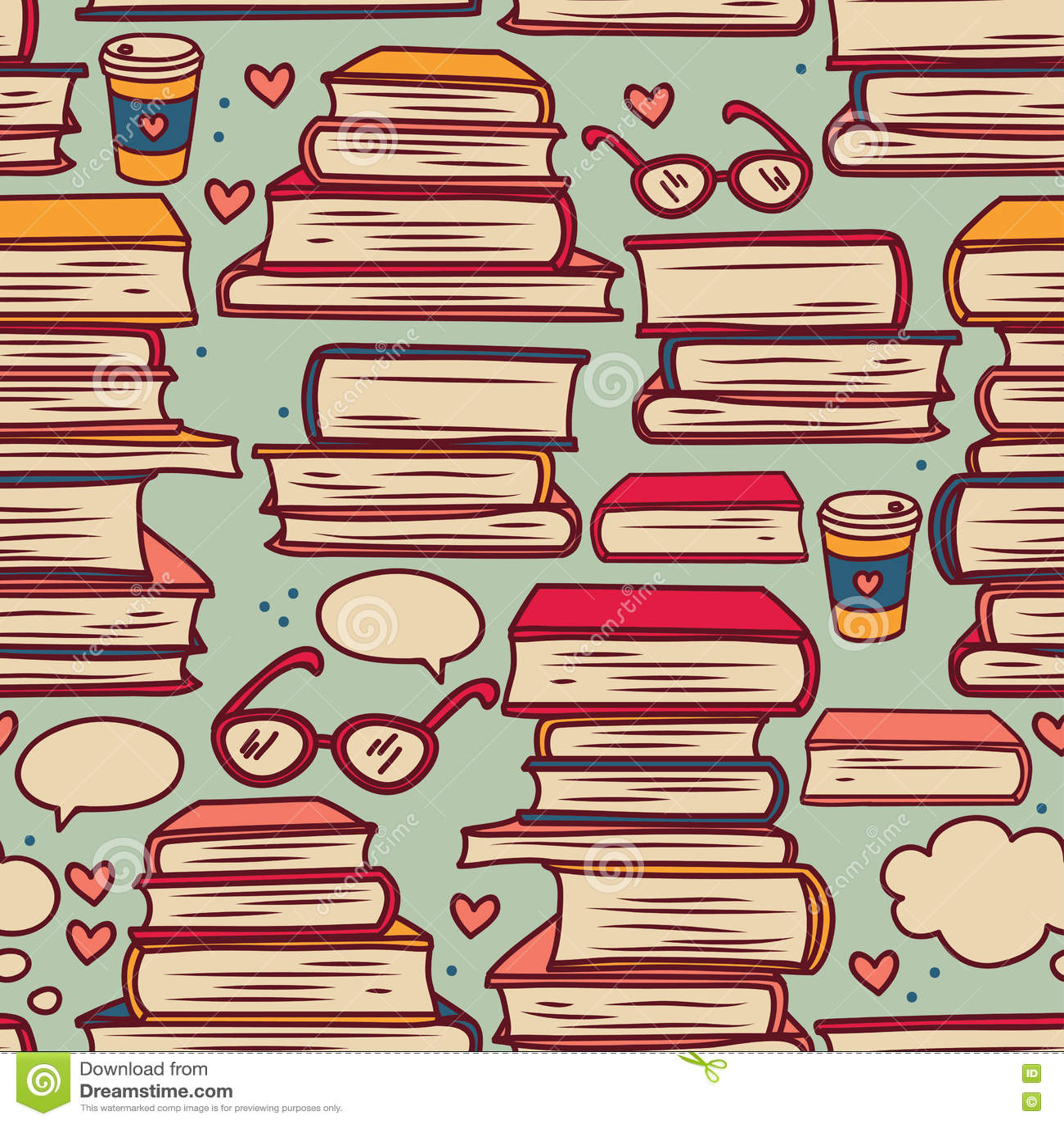 Download Безшовная картина с стогами книг и сердец Иллюстрация вектора - иллюстрации насчитывающей backhoe, тождественность: 72291539