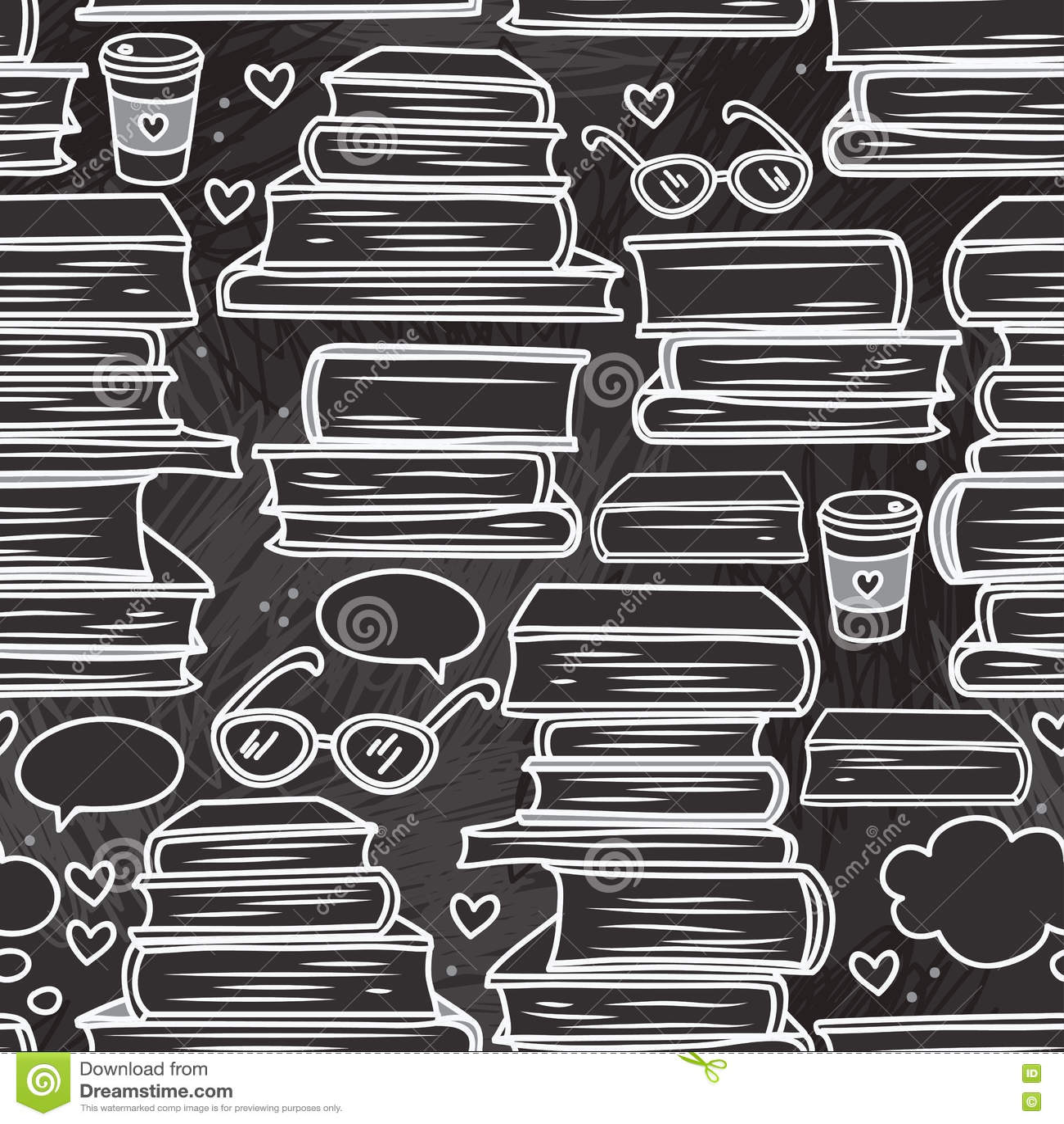 Download Безшовная картина с стогами книг и сердец Иллюстрация вектора - иллюстрации насчитывающей hippie, boris: 72291806