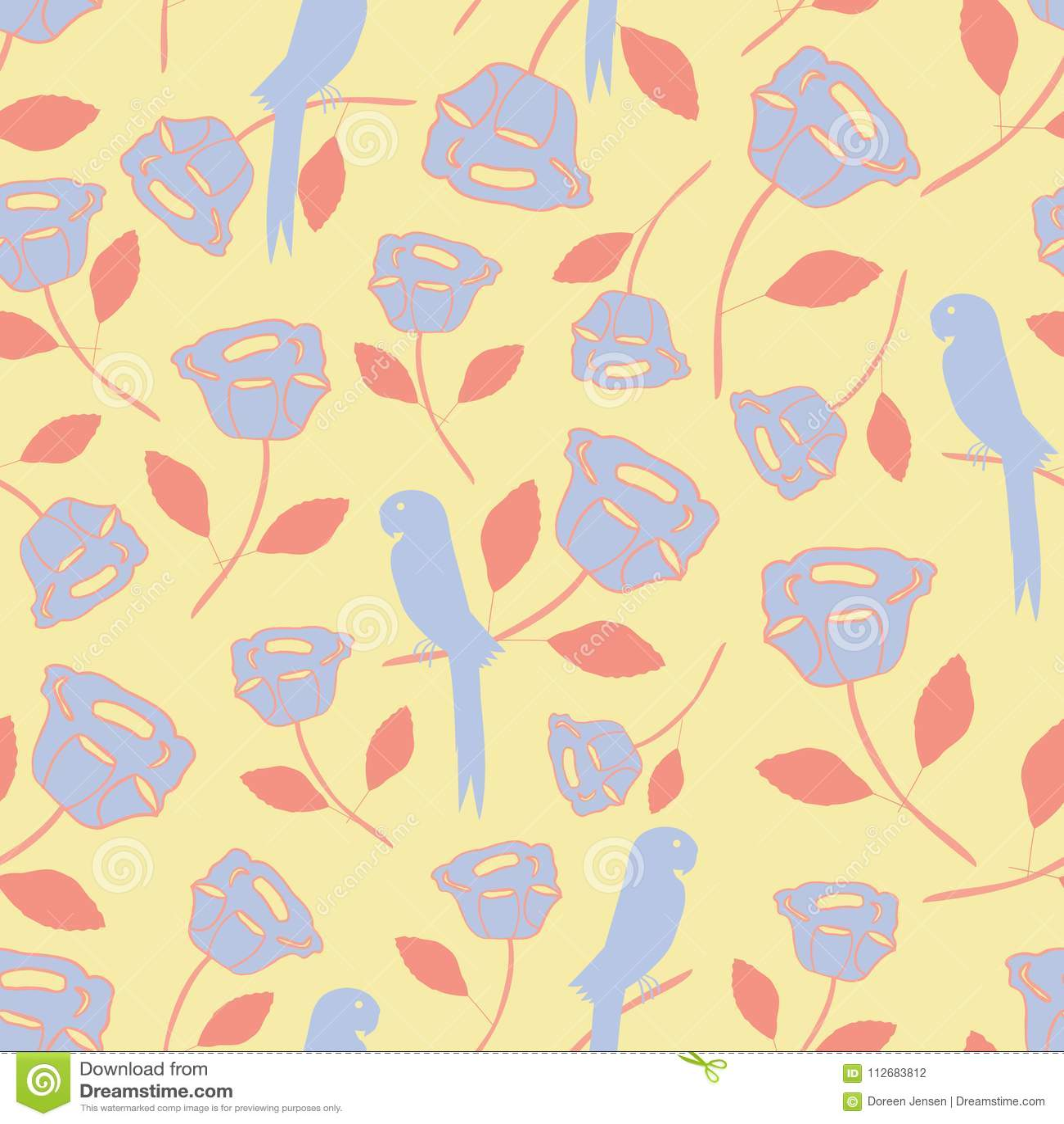 Безшовная картина с тропическими винтажными элементами, птицами, цветками, листьями в пурпуре и апельсином с желтой предпосылкой