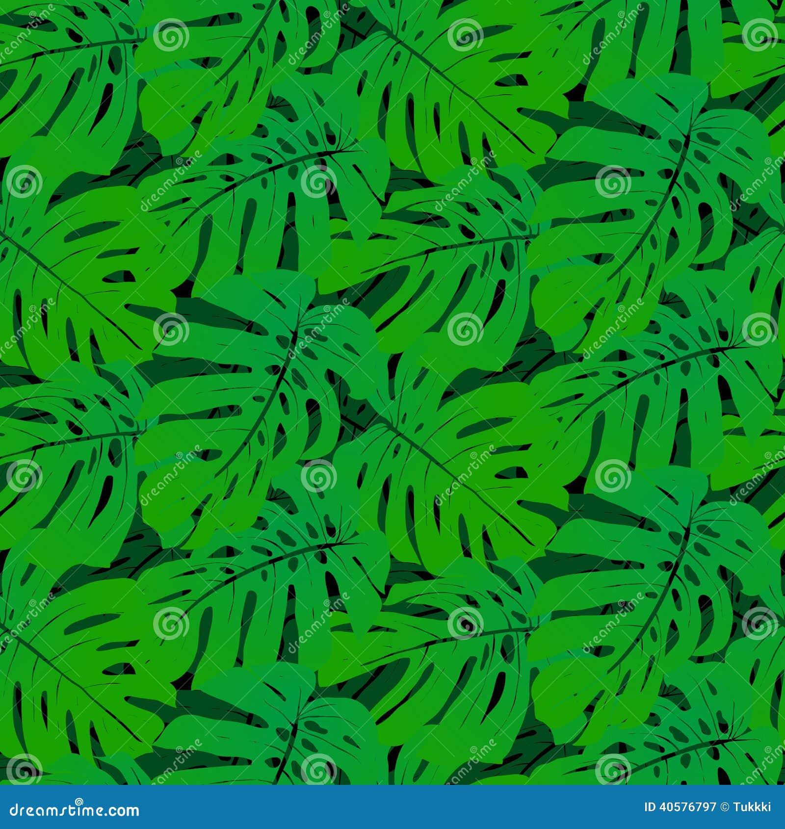 Безшовная картина с тропическими листьями