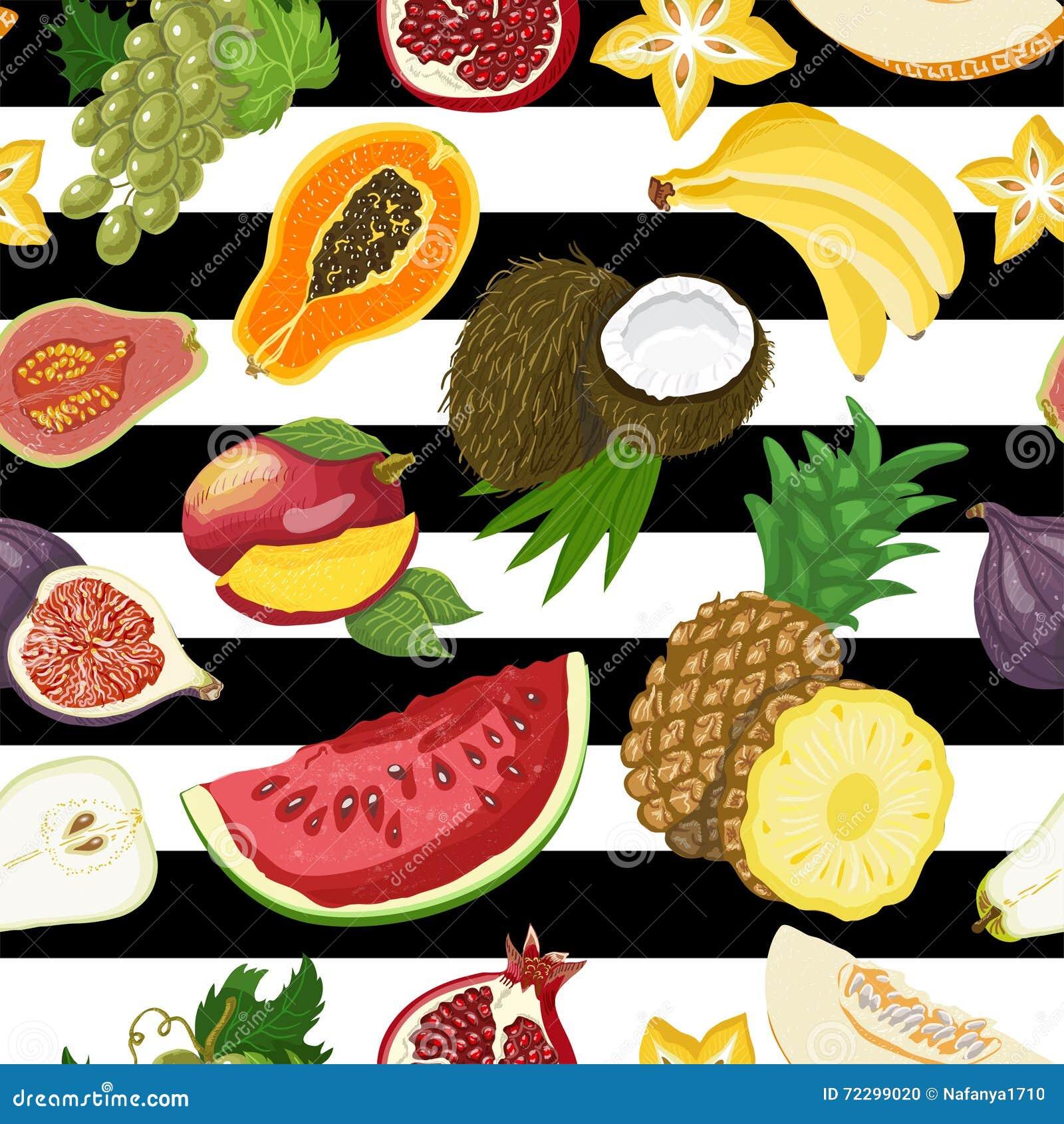 Download Безшовная картина с тропическими плодоовощами на белой и черной предпосылке Иллюстрация вектора - иллюстрации насчитывающей дыня, конструкция: 72299020