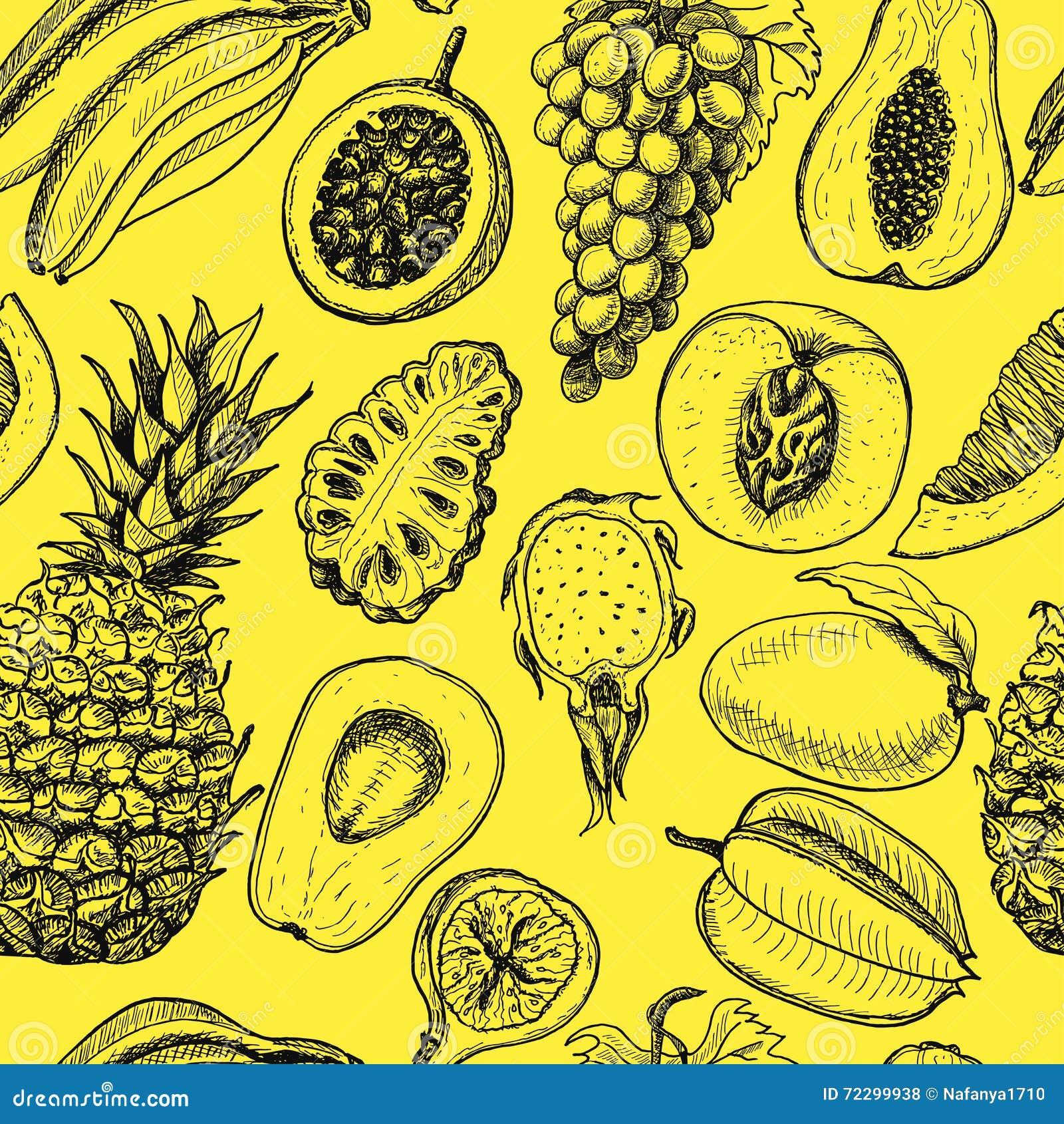 Download Безшовная картина с тропическими плодоовощами на желтой предпосылке Иллюстрация вектора - иллюстрации насчитывающей дракон, завод: 72299938