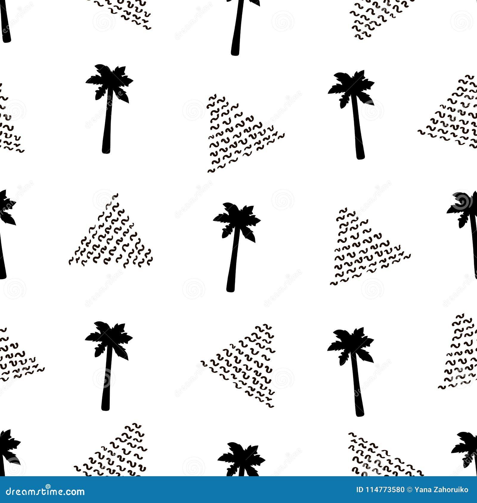 Безшовная картина с черными пальмами и треугольниками