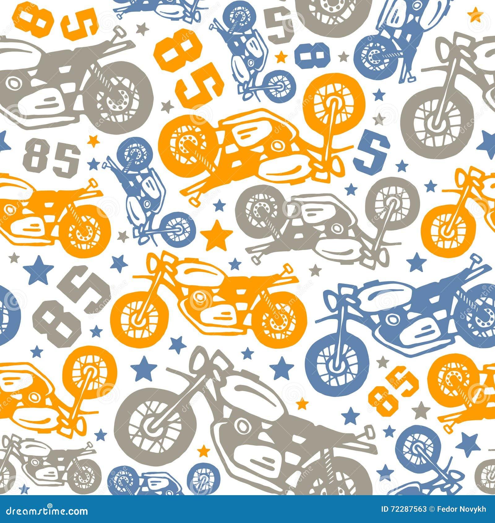 Download Безшовная картина с чертежами мотоциклов Иллюстрация вектора - иллюстрации насчитывающей рука, плавно: 72287563