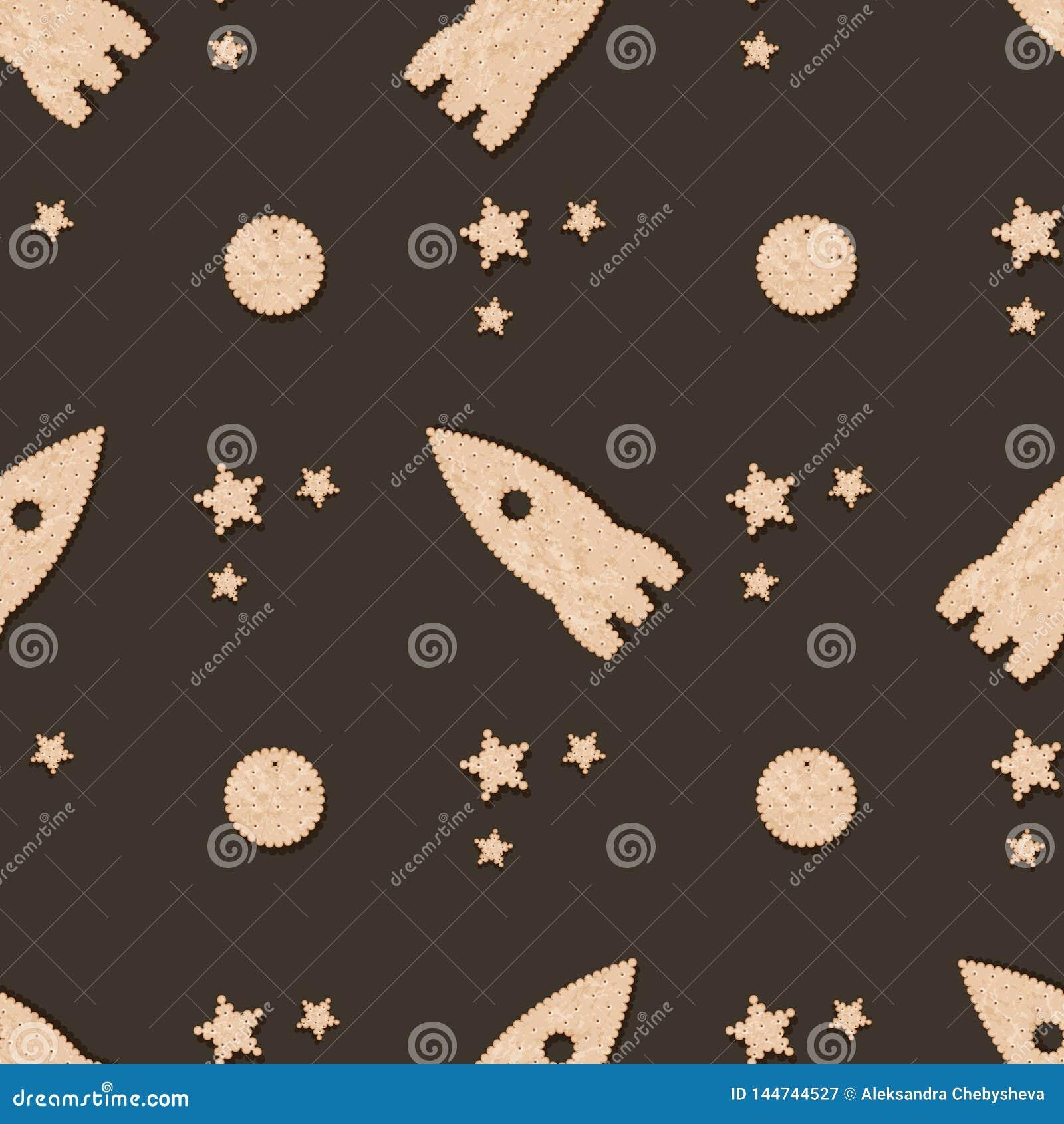 Безшовная картина с шутихой печенья печенья Печенья Ракеты, луны и зве