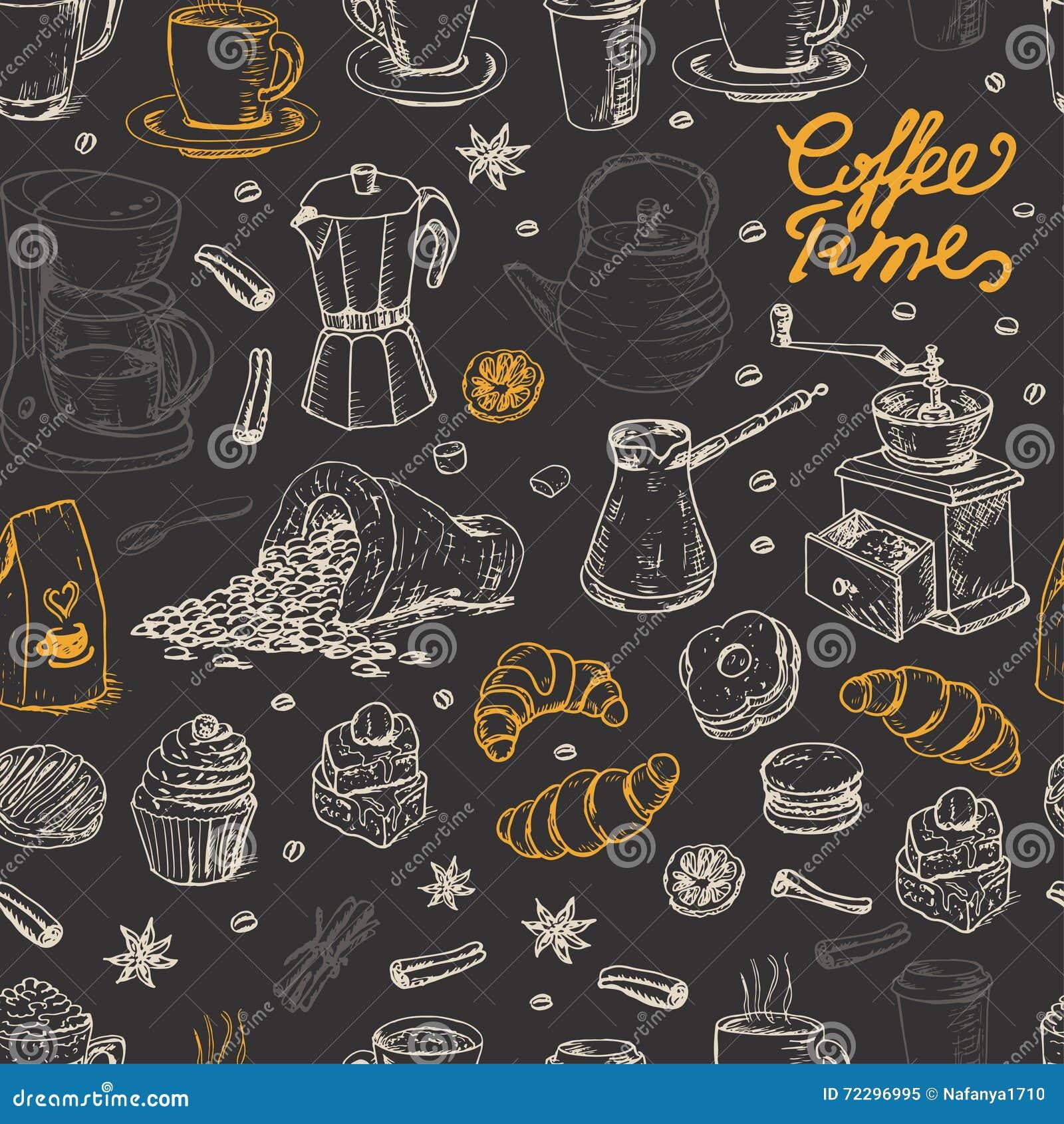 Download Безшовная картина с элементами кофе на черной предпосылке Иллюстрация вектора - иллюстрации насчитывающей собрание, элемент: 72296995