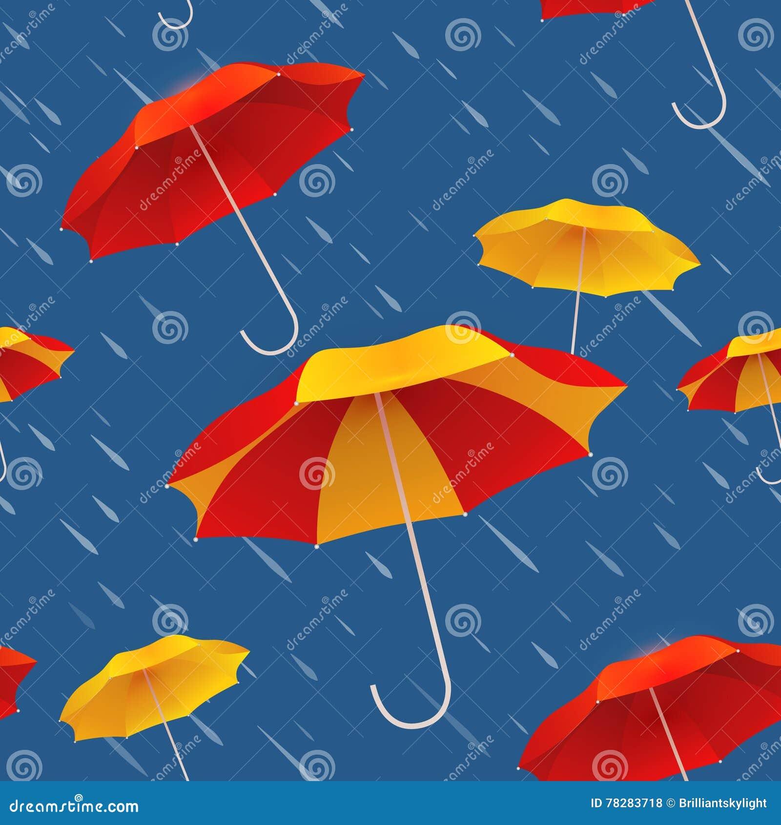 Безшовная картина с яркими красочными зонтиками и дождем