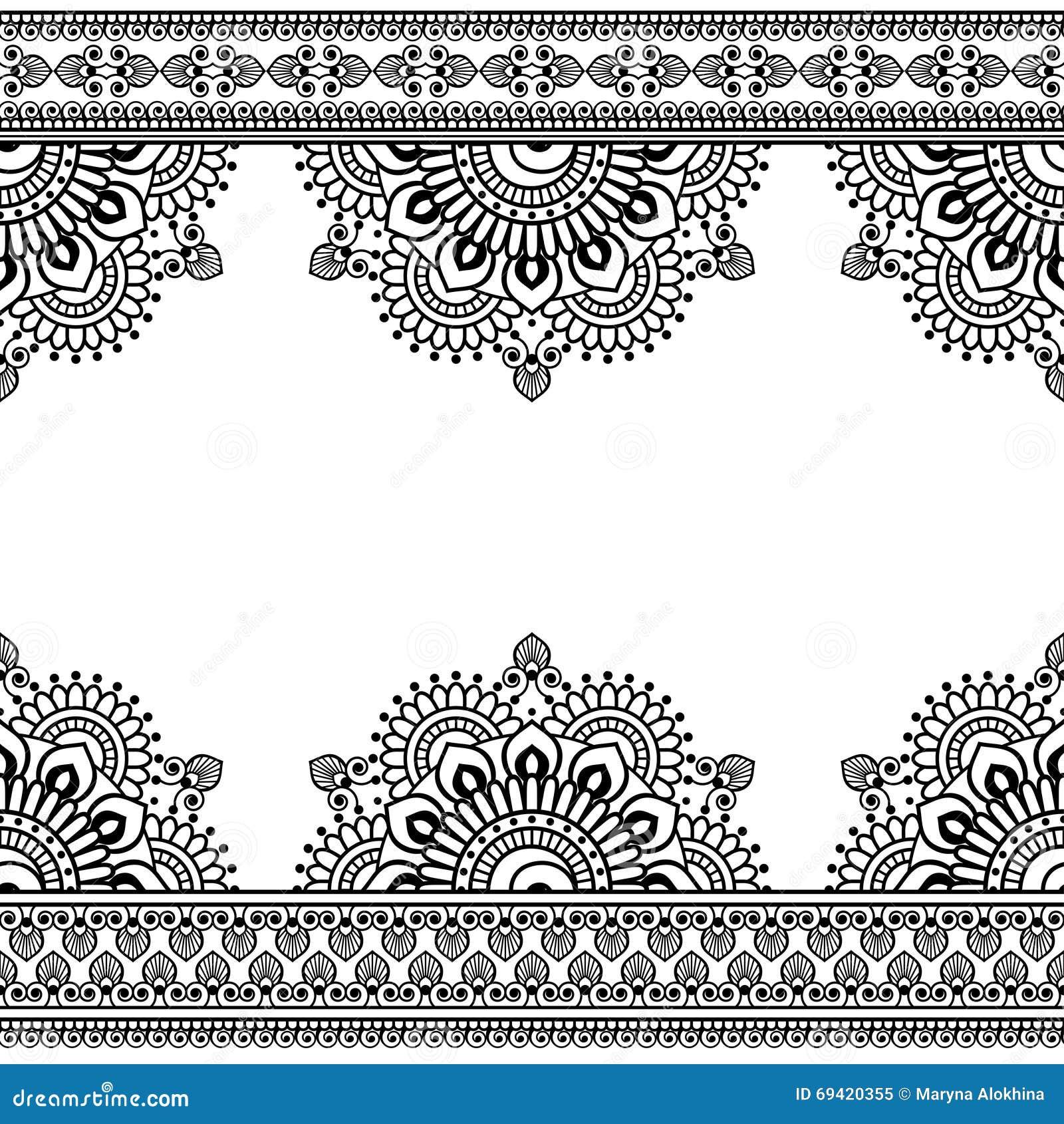 Безшовная картина Mehndi индейца с флористическими элементами границы для карточки и татуировки на белой предпосылке