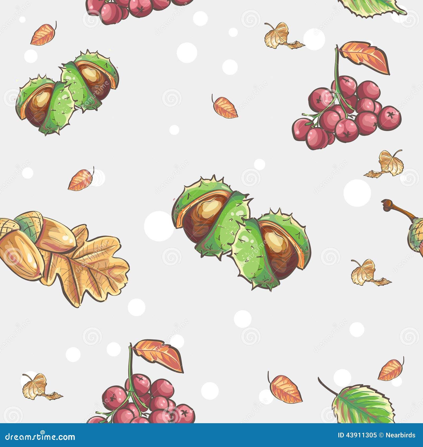 Безшовная осенняя картина с изображением каштанов и ягод рябины жолудей