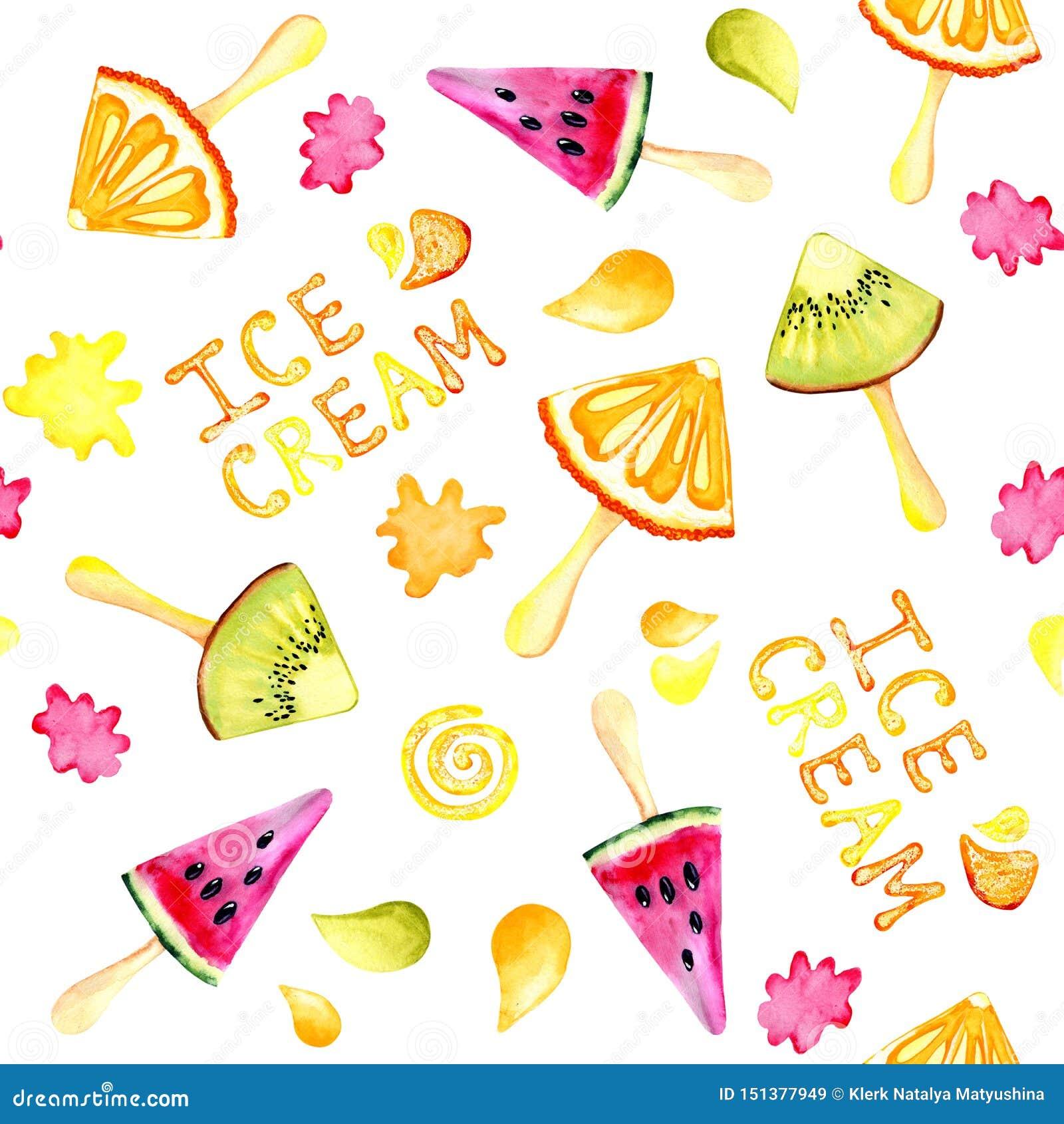 Безшовная предпосылка с изображением кивиа, апельсин акварели картины, арбуз, мороженое Сочные пульпа и семена для