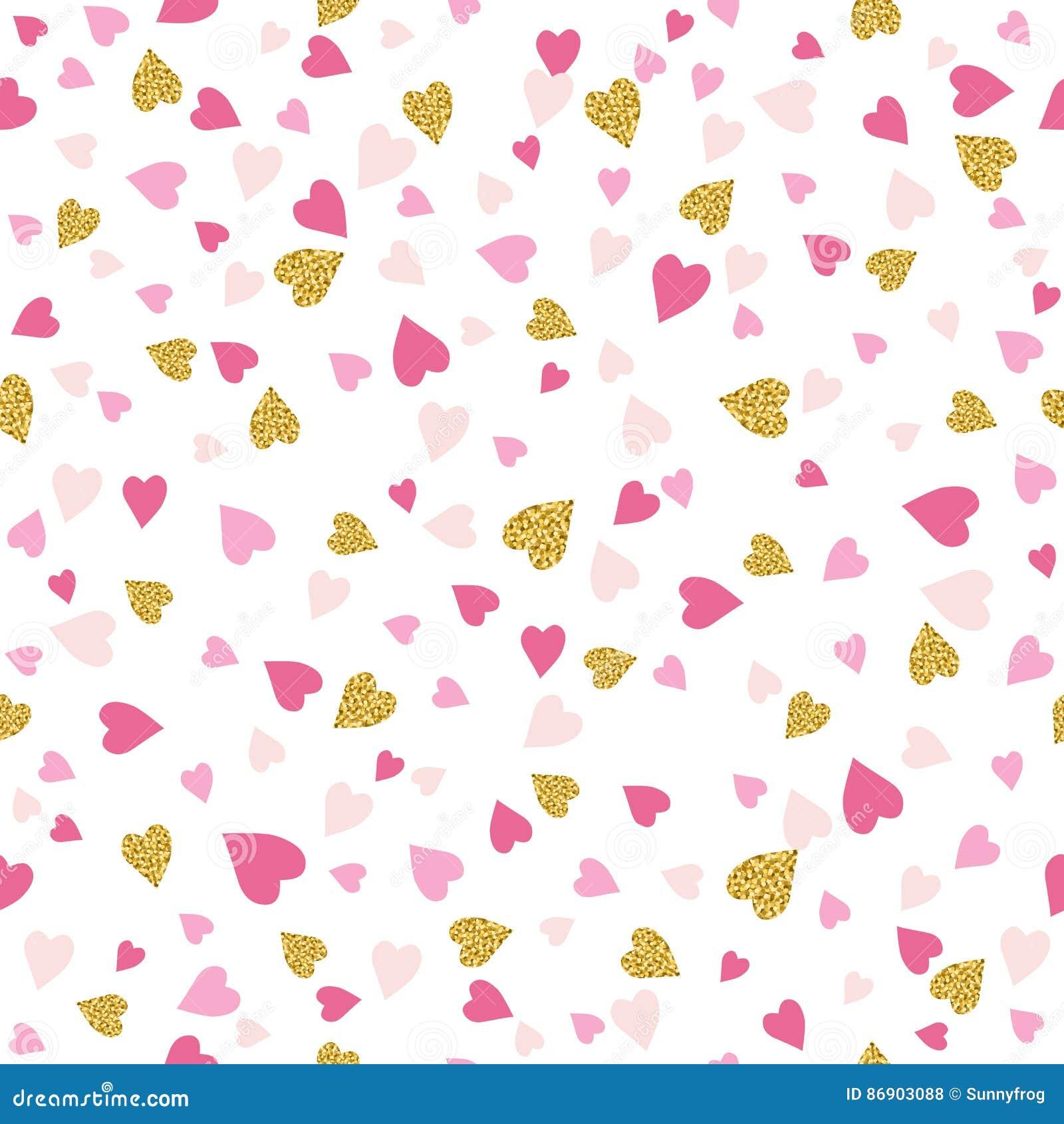 Безшовная предпосылка с золотыми и розовыми сердцами валентинки