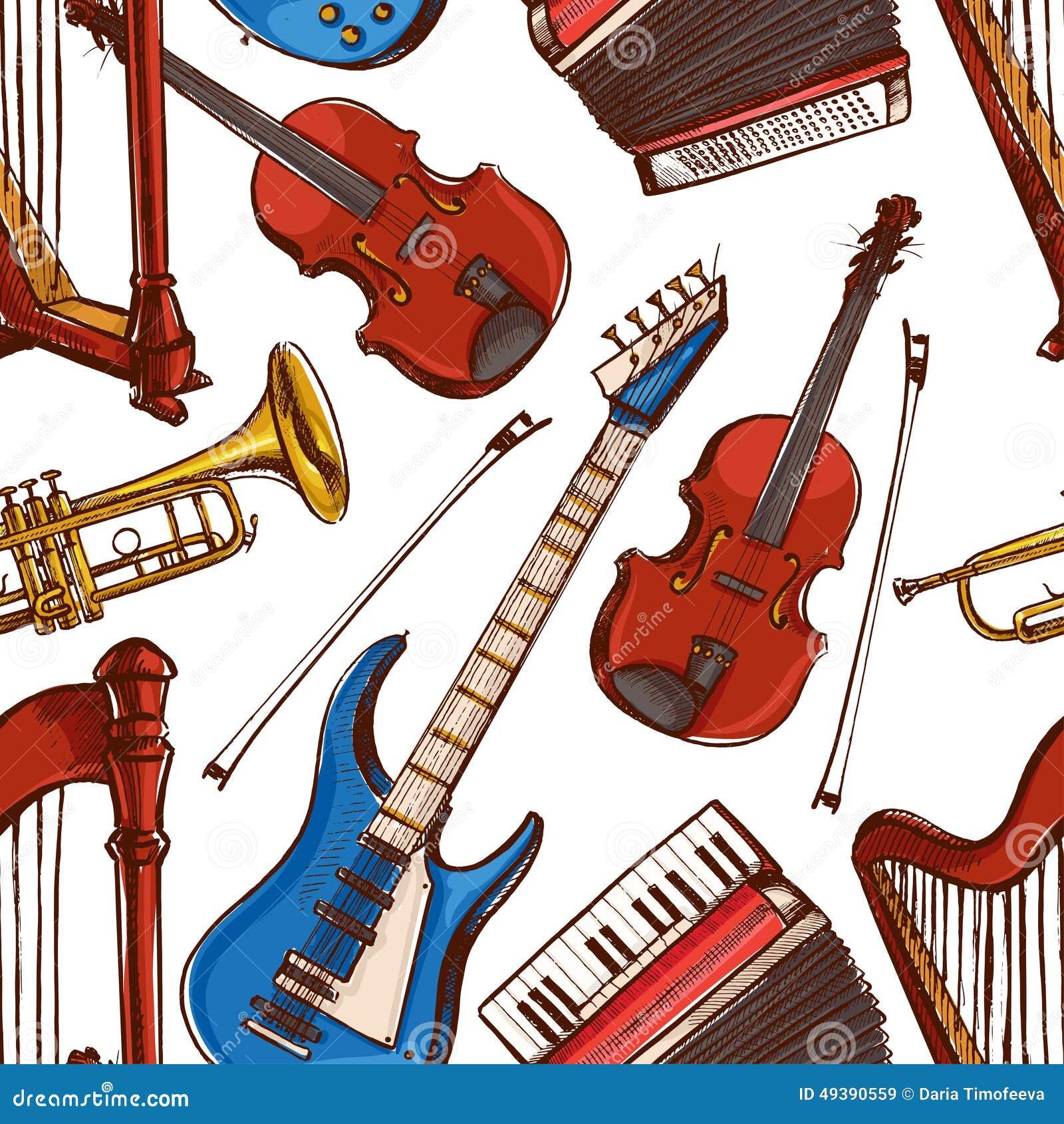 Безшовная предпосылка с музыкальными инструментами
